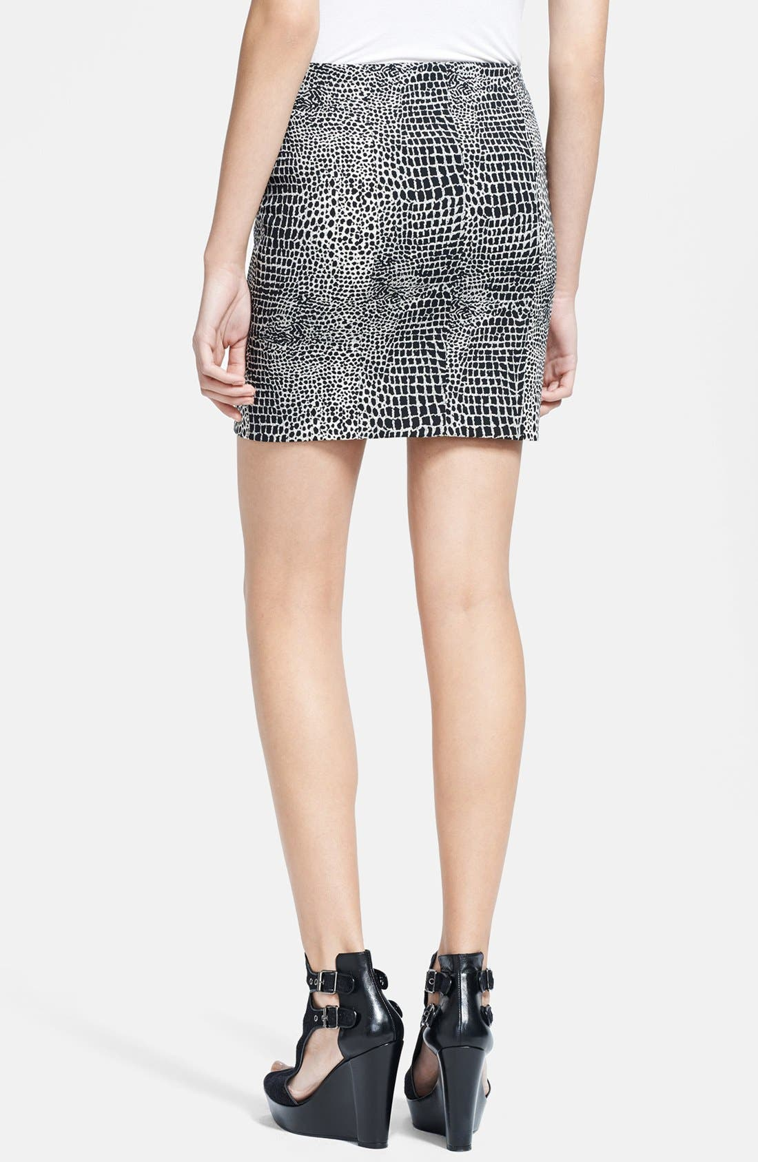 Alternate Image 2  - The Kooples Leather & Crocodile Jacquard Skirt