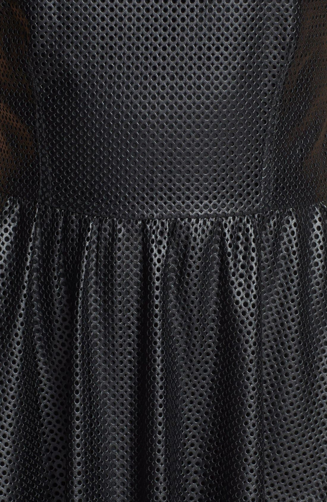 Alternate Image 3  - Lucca Couture Perforated Faux Leather Skater Dress
