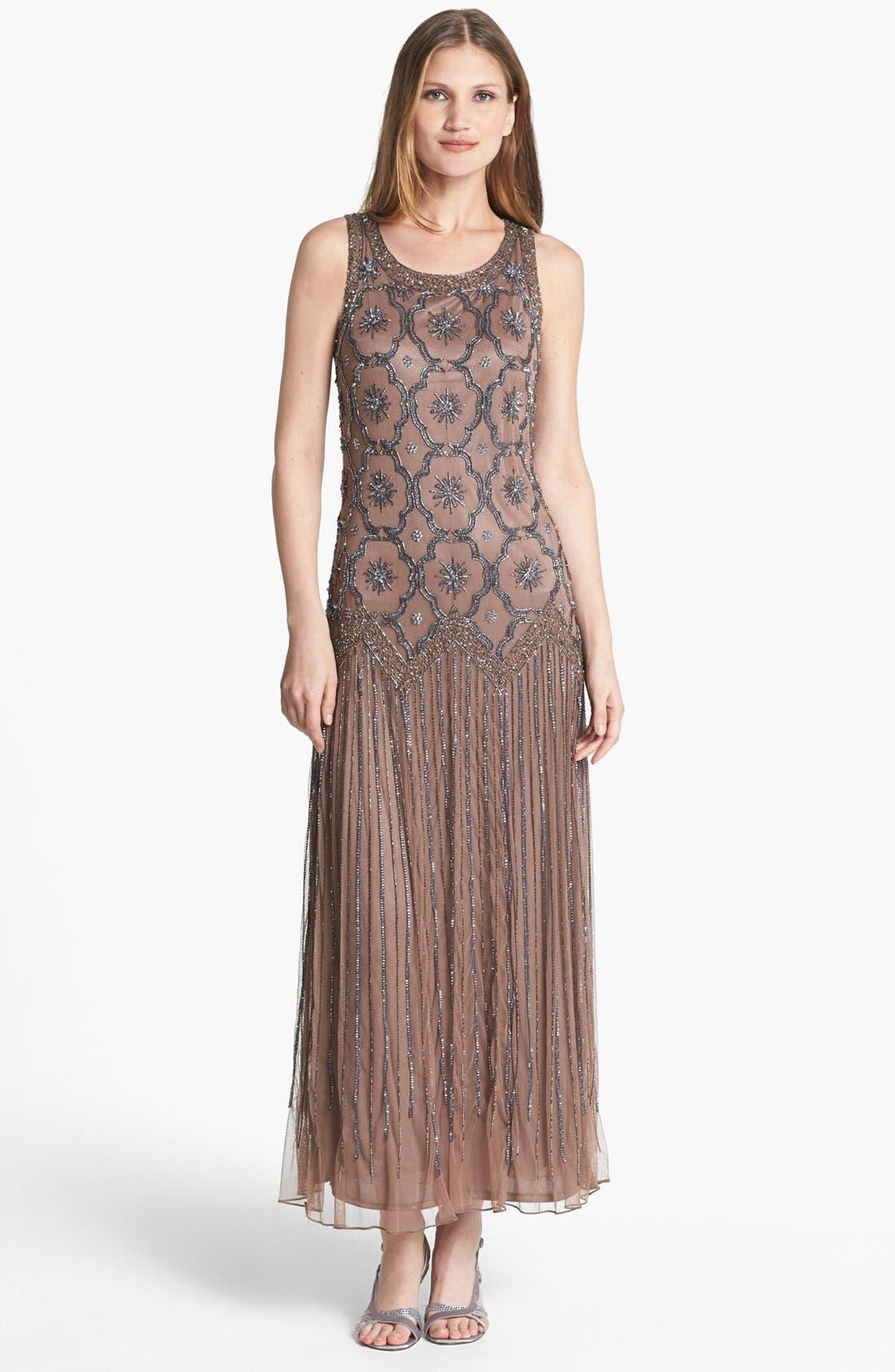 Main Image - Pisarro Nights Embellished Drop Waist Midi Dress