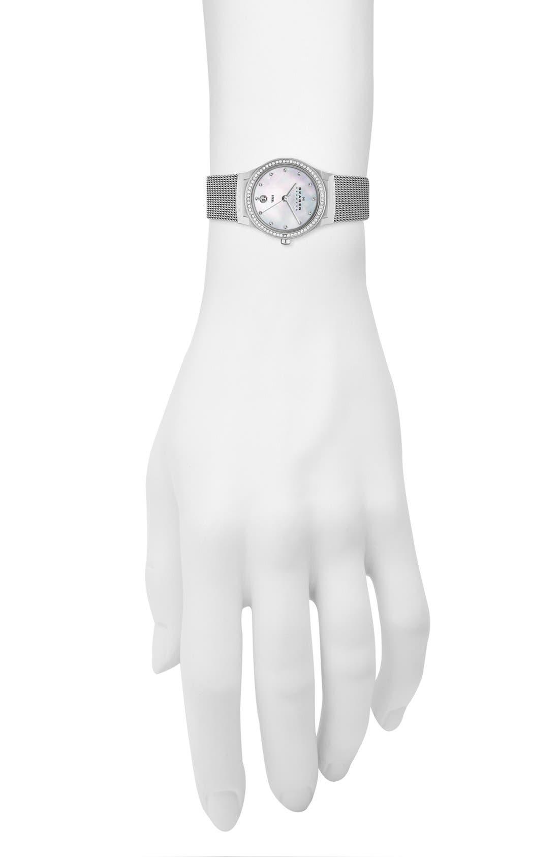 Alternate Image 2  - Skagen 'Mesh' Round Crystal Bezel Watch, 26mm