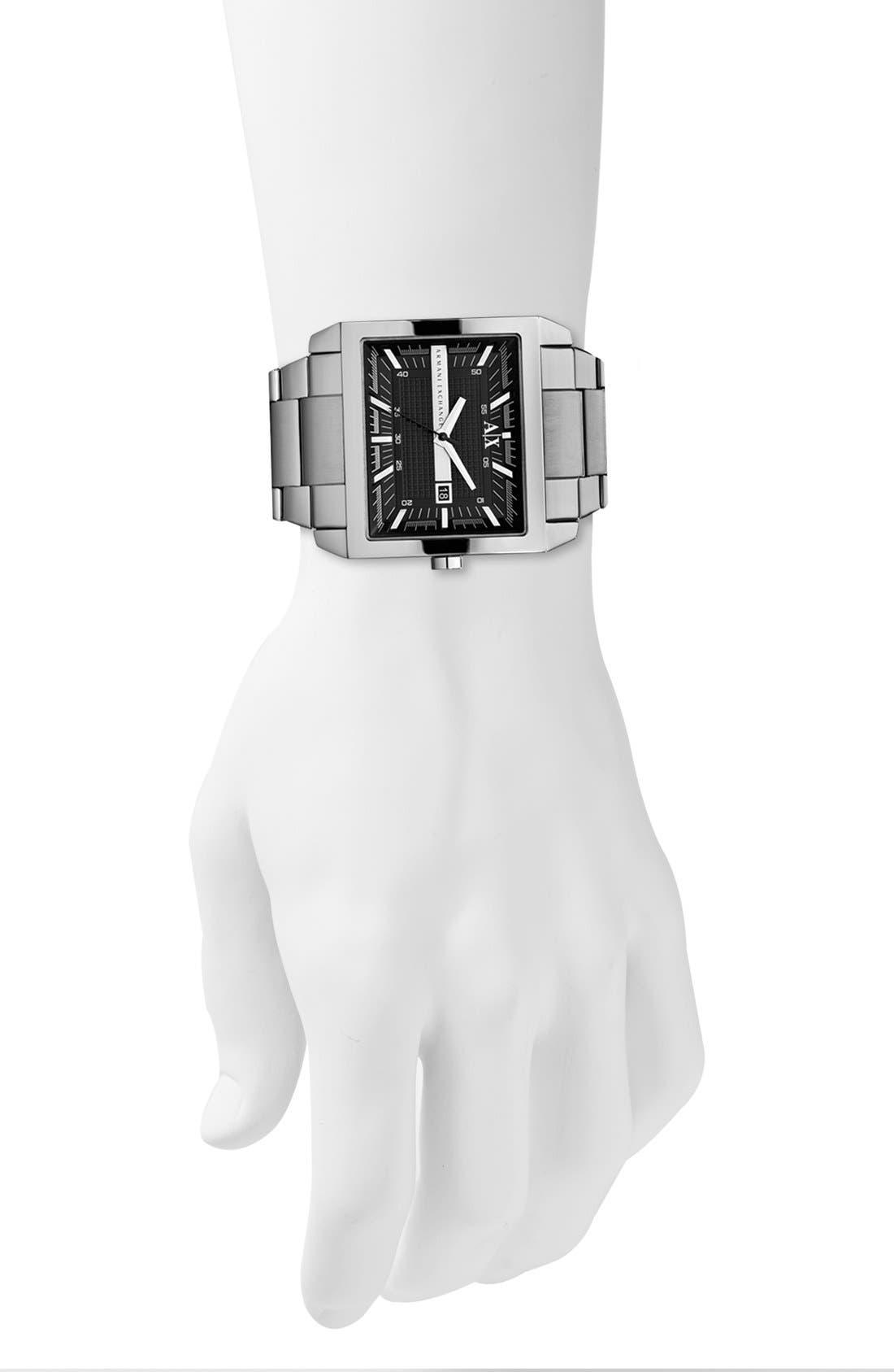 Alternate Image 4  - AX Armani Exchange Rectangular Bracelet Watch, 46mm x 43mm