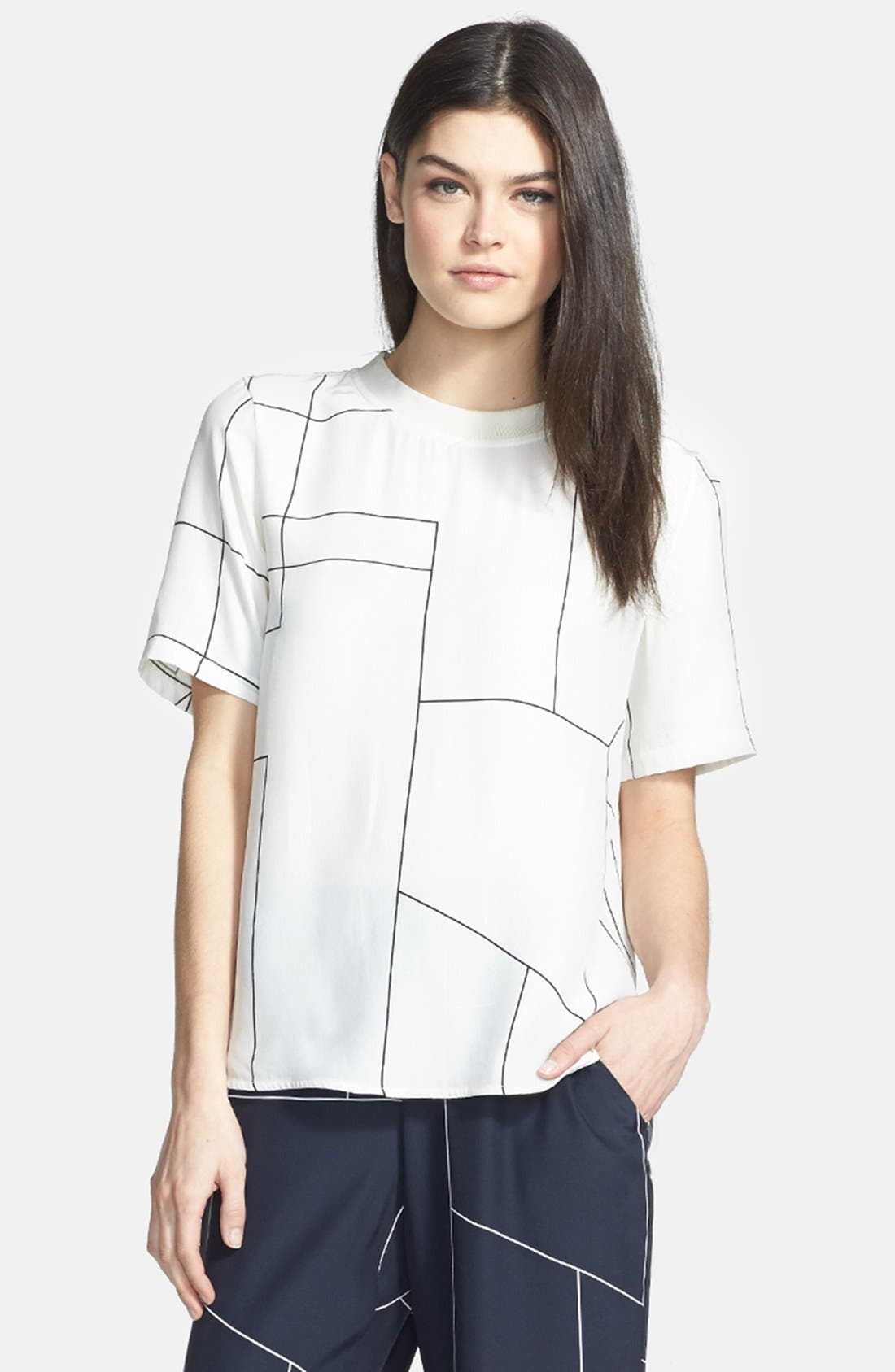 Main Image - Theory 'Klima' Back Button Geometric Print Silk Top