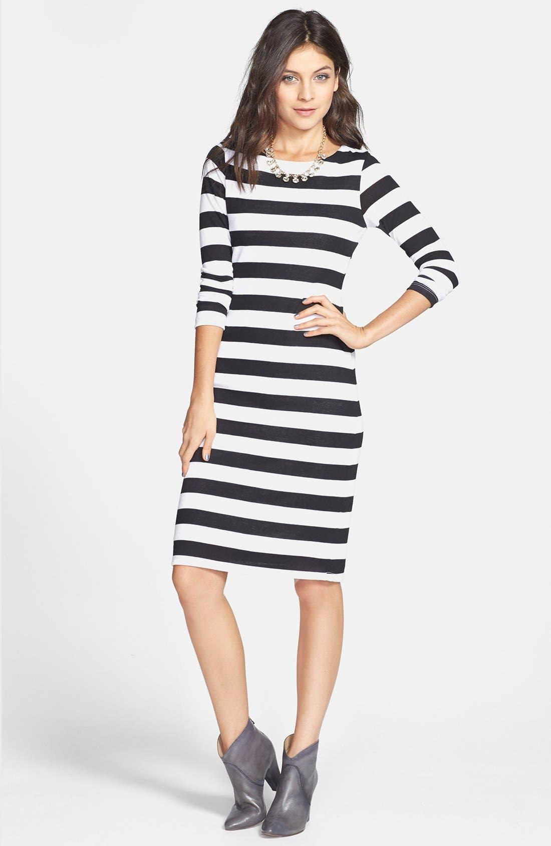 Alternate Image 1 Selected - Minty Stripe Midi Dress (Juniors)