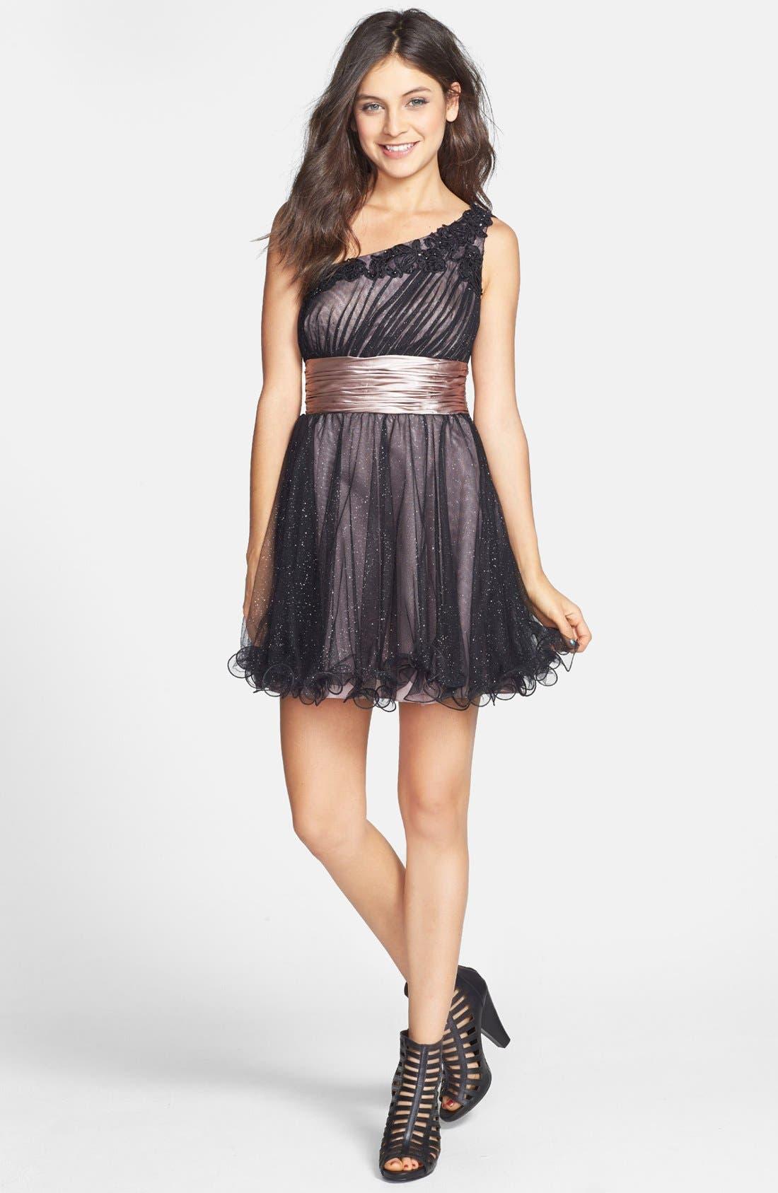 Main Image - Jump Apparel One-Shoulder Dress (Juniors)