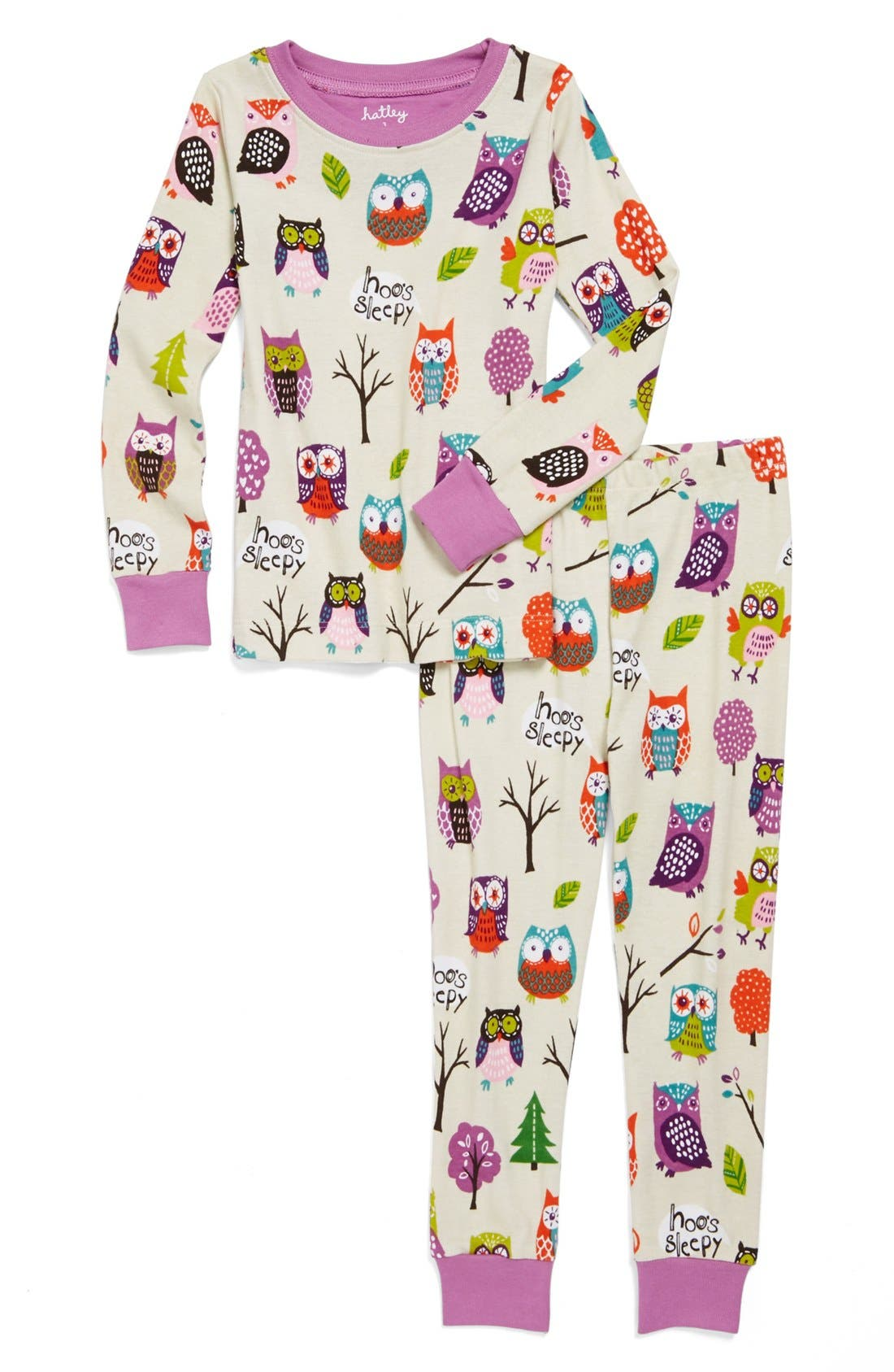 Main Image - Hatley 'Party Owls' Two-Piece Fitted Pajamas (Toddler Girls)