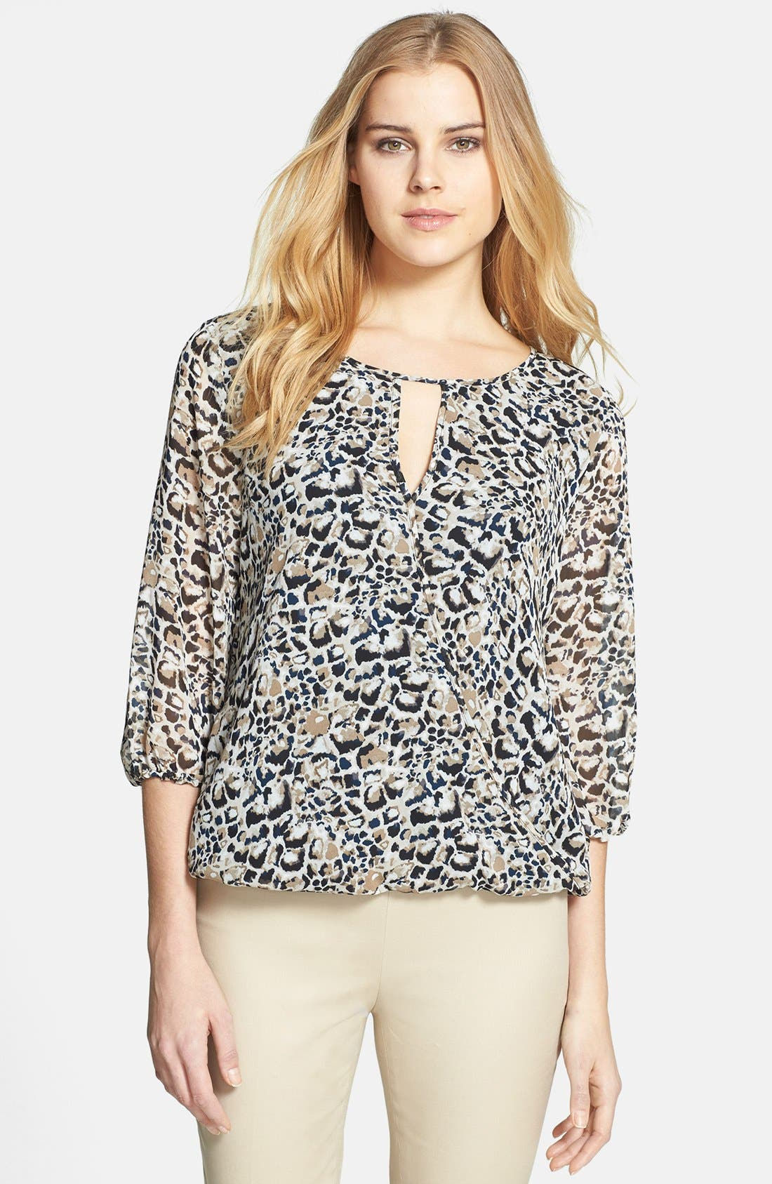 Alternate Image 1 Selected - Vince Camuto 'Animal Rocks' Wrap Front Blouse