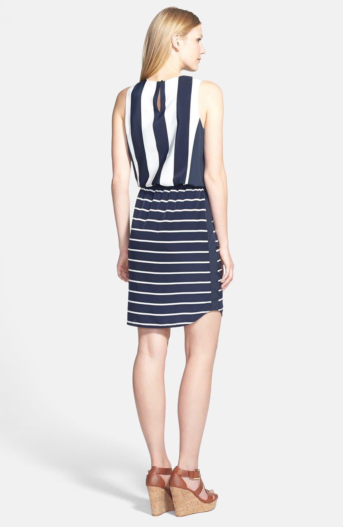 Alternate Image 2  - Vince Camuto 'Yacht Stripe' Mixed Print Dress (Regular & Petite)