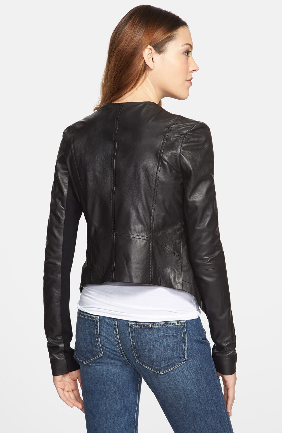 Alternate Image 2  - Halogen® 'Waterfall' Leather Jacket (Regular & Petite)