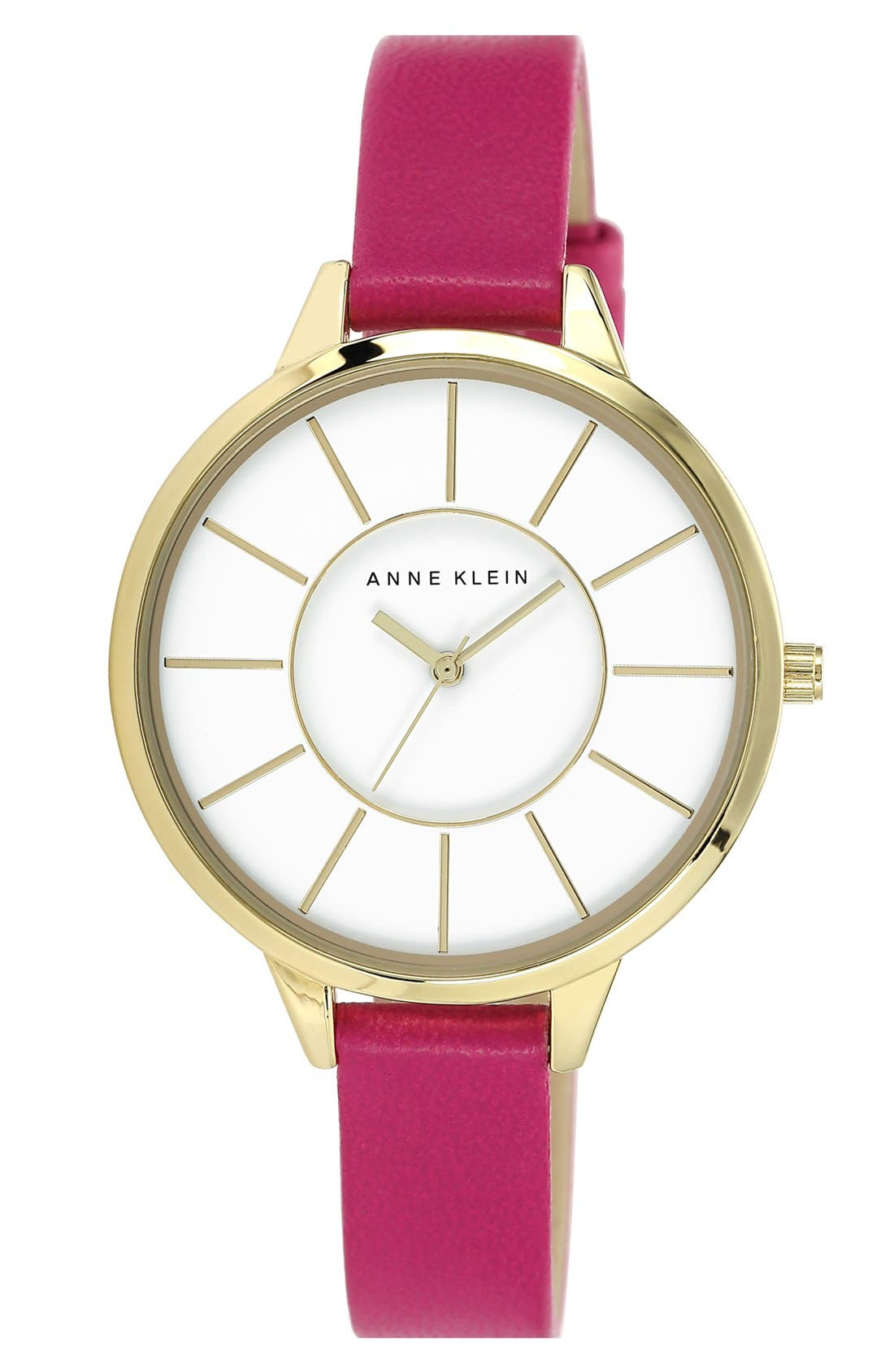 Main Image - Anne Klein Round Slim Leather Strap Watch, 38mm
