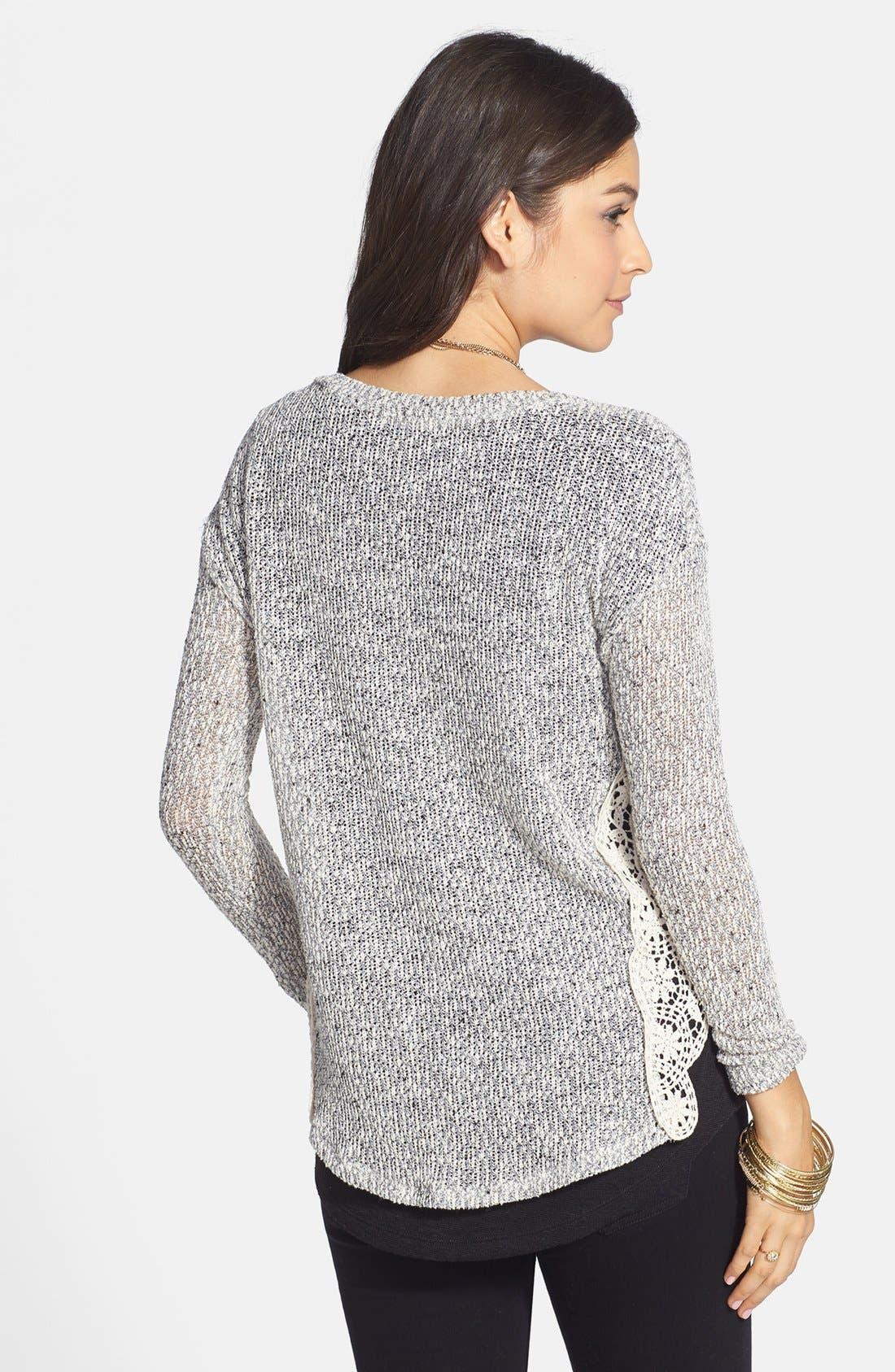 Alternate Image 2  - Lush Crochet Side Marled Sweater (Juniors)