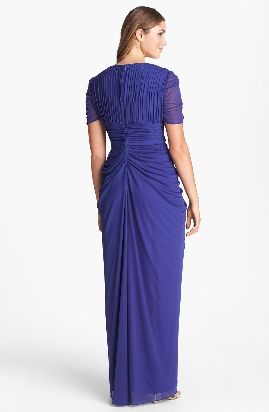 Alternate Image 2  - Adrianna Papell Draped Chiffon Gown (Petite)