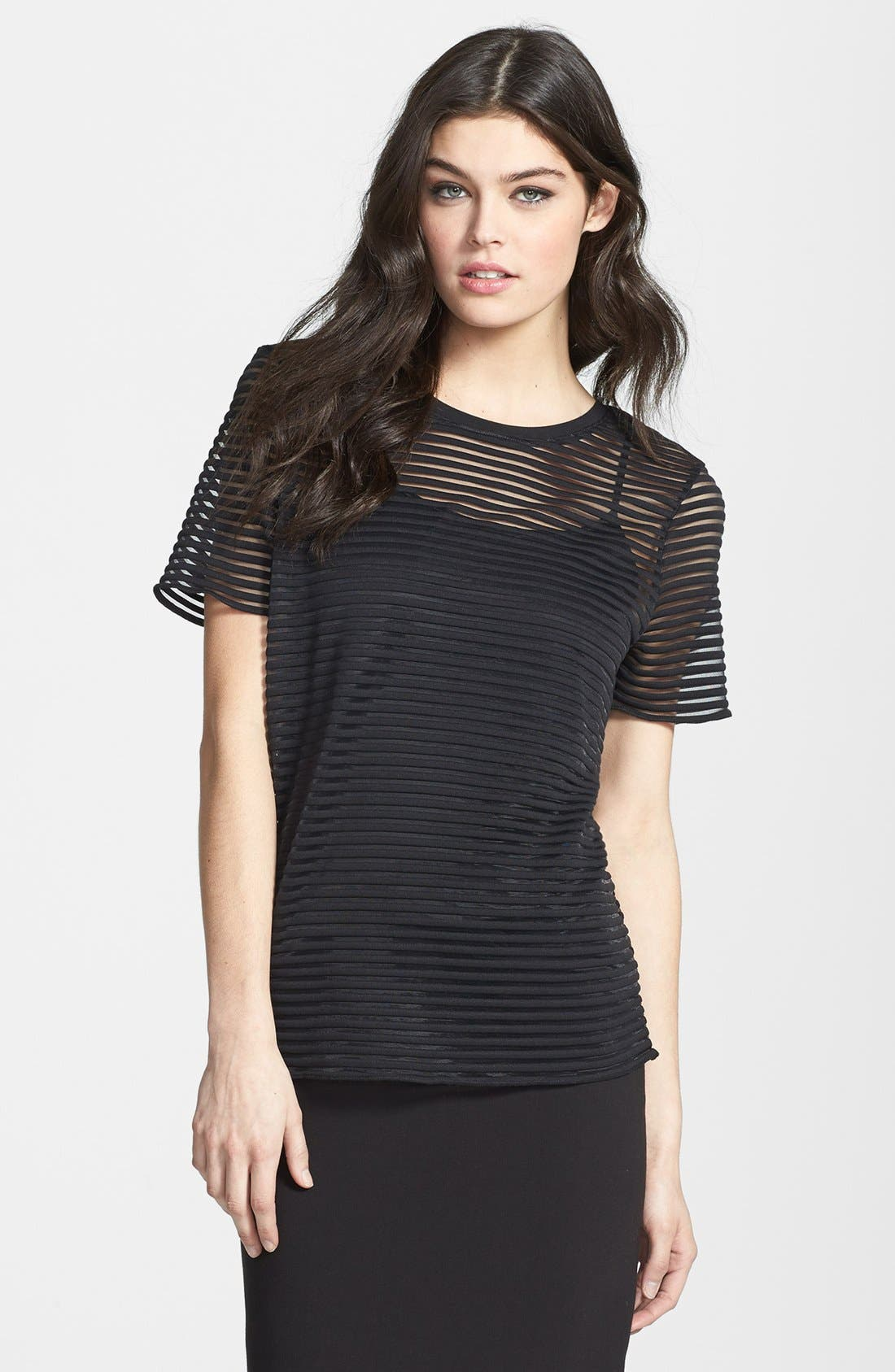 Alternate Image 1 Selected - Trouvé Sheer Stripe Tee