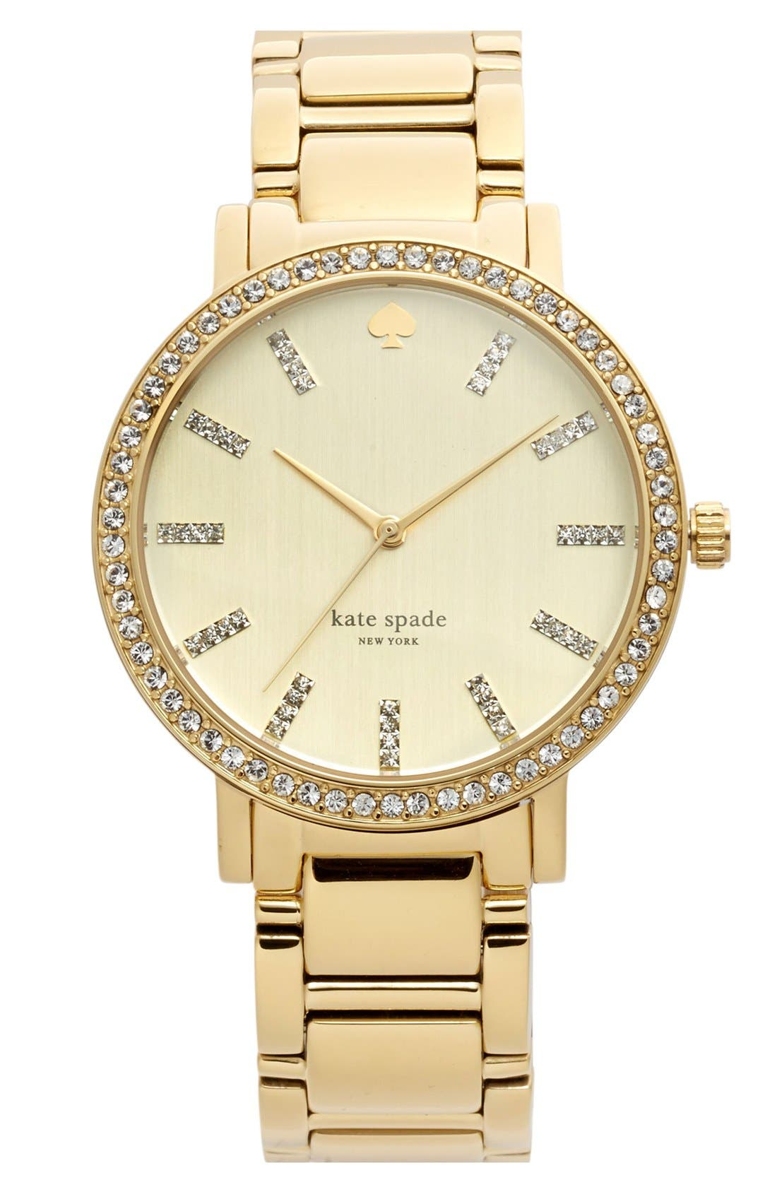 Alternate Image 1 Selected - kate spade new york 'gramercy grand' pavé bezel bracelet watch, 38mm