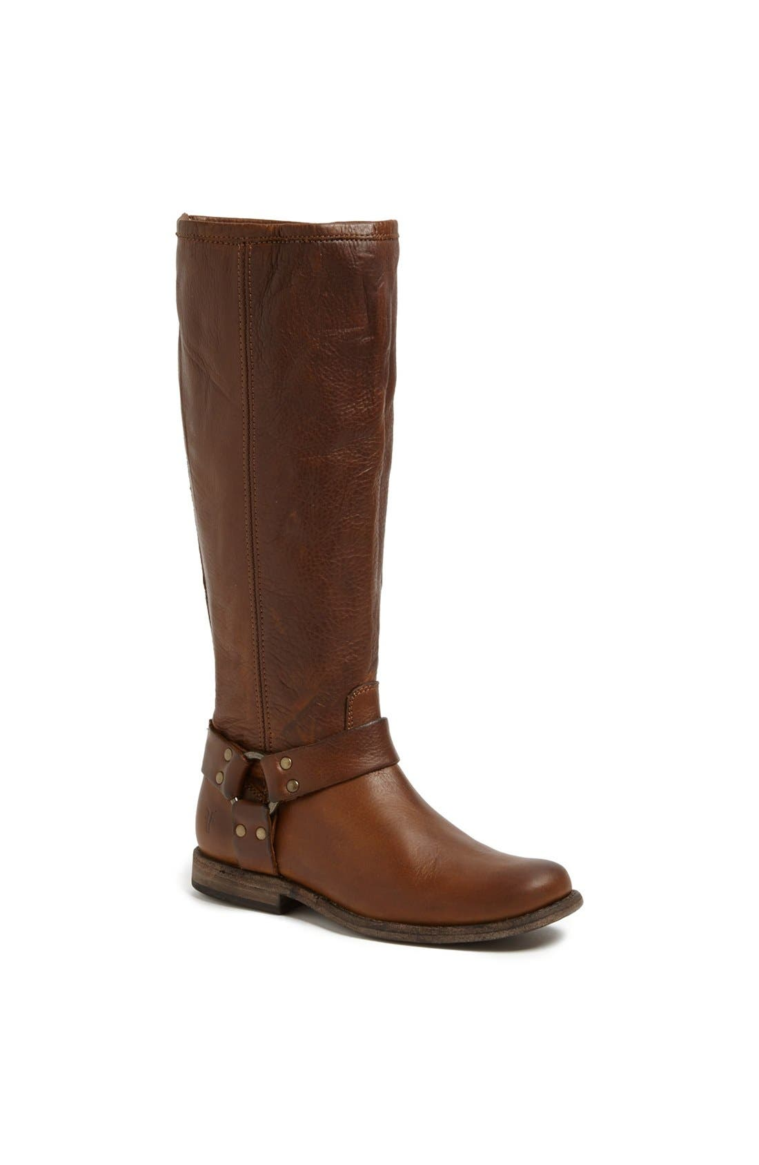 Alternate Image 1 Selected - Frye 'Phillip Harness' Tall Washed Leather Riding Boot (Wide Calf) (Women)
