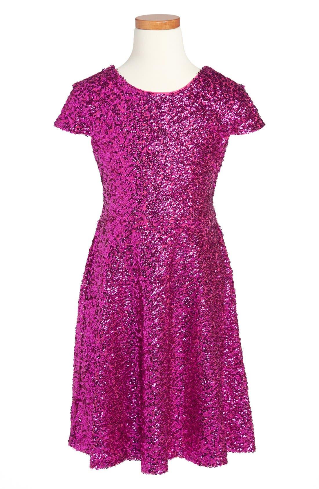 Alternate Image 1 Selected - Roxette Cap Sleeve Sequin Dress (Big Girls)