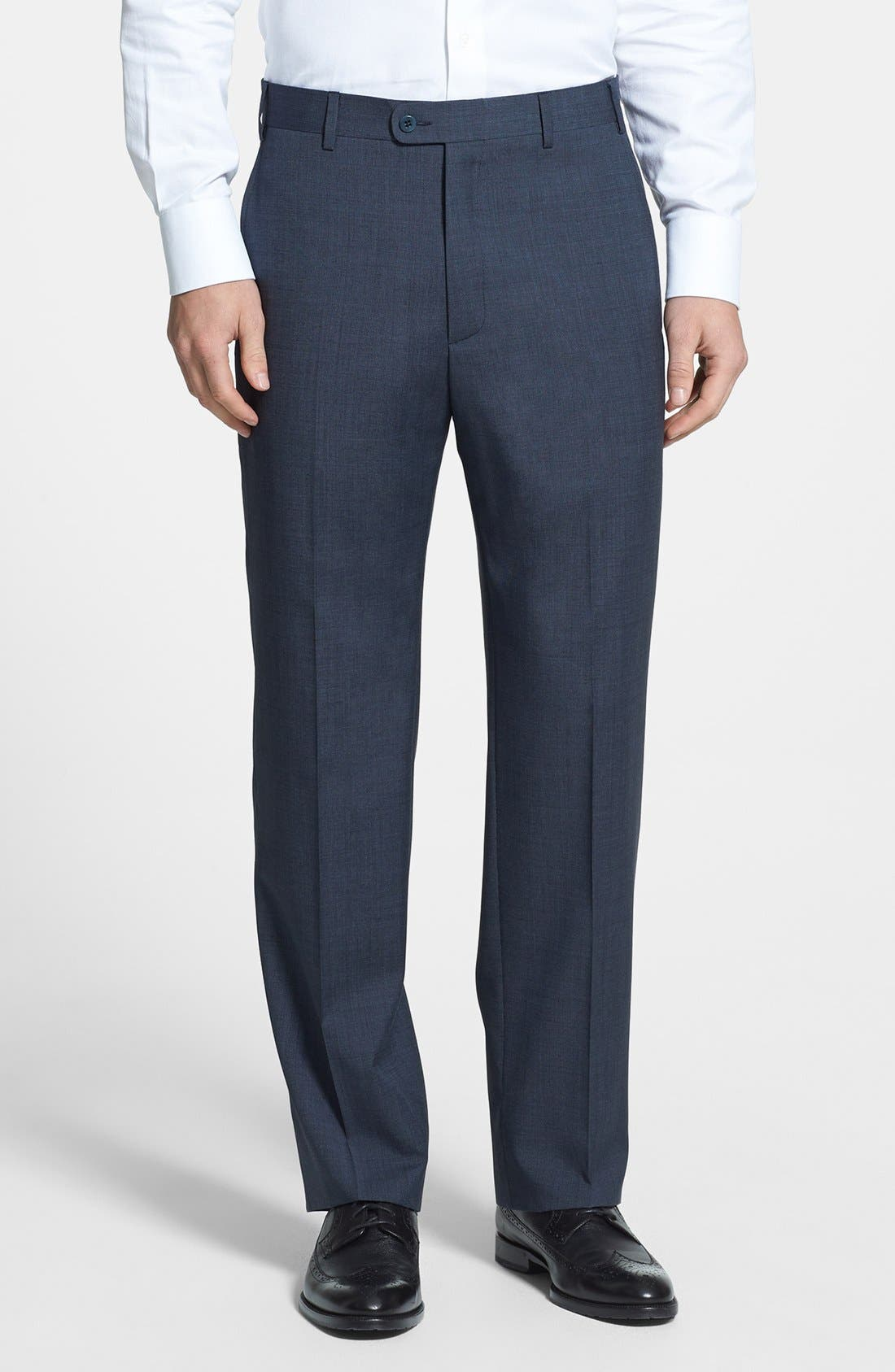 Alternate Image 1 Selected - Zanella 'Todd' Flat Front Wool Trousers