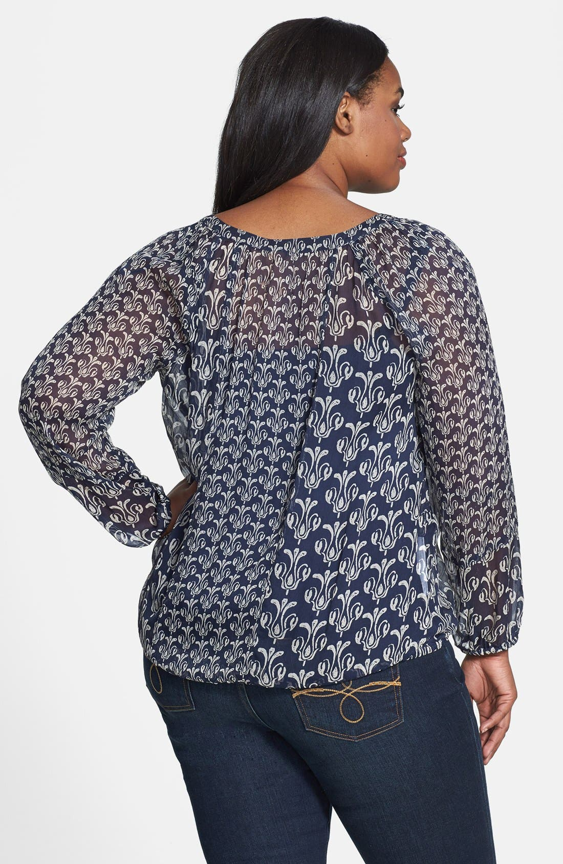Alternate Image 2  - Lucky Brand 'Calimesa' Mixed Print Blouse (Plus Size)