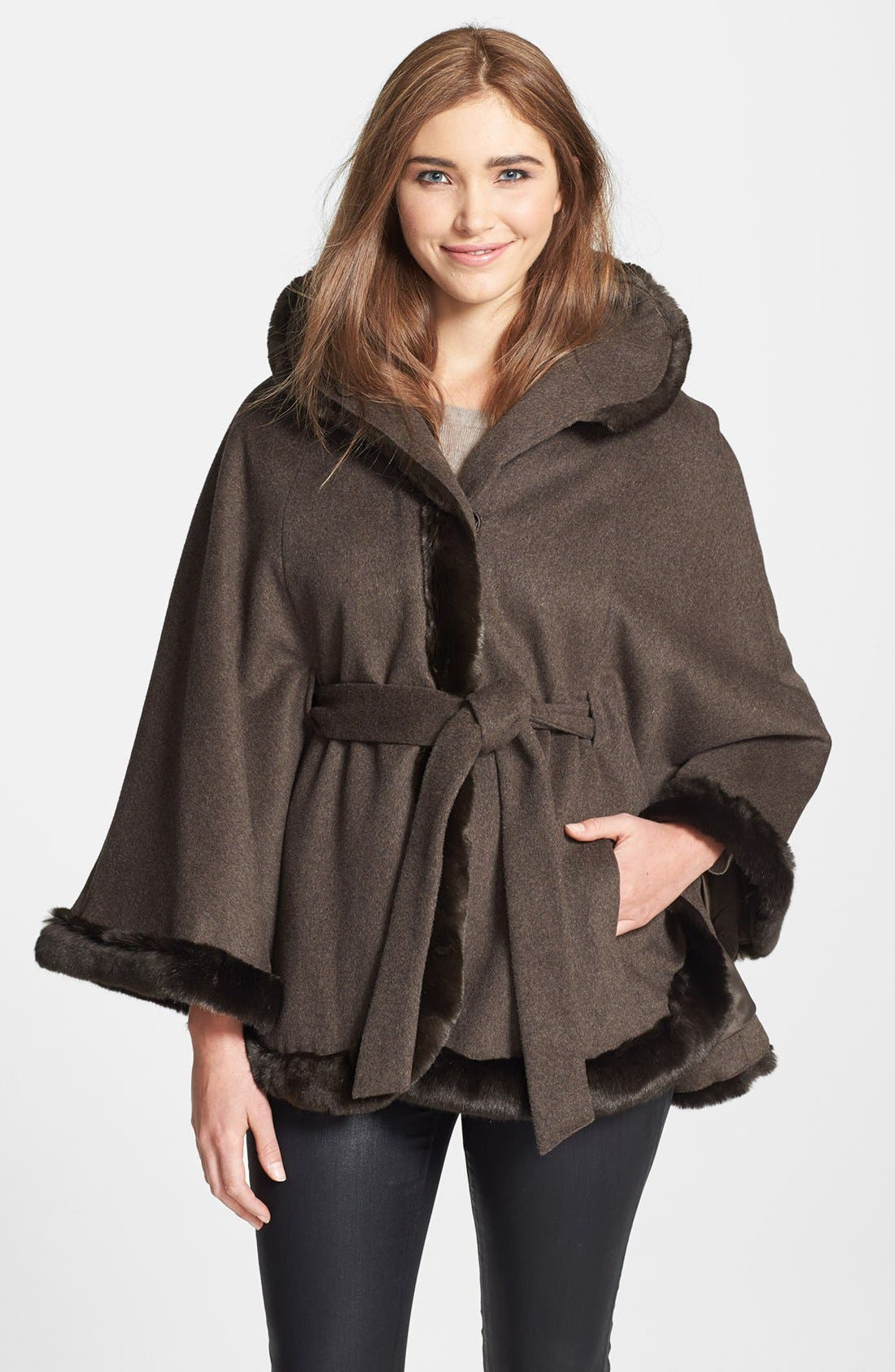 Main Image - Ellen Tracy Faux Fur Trim Belted Cape