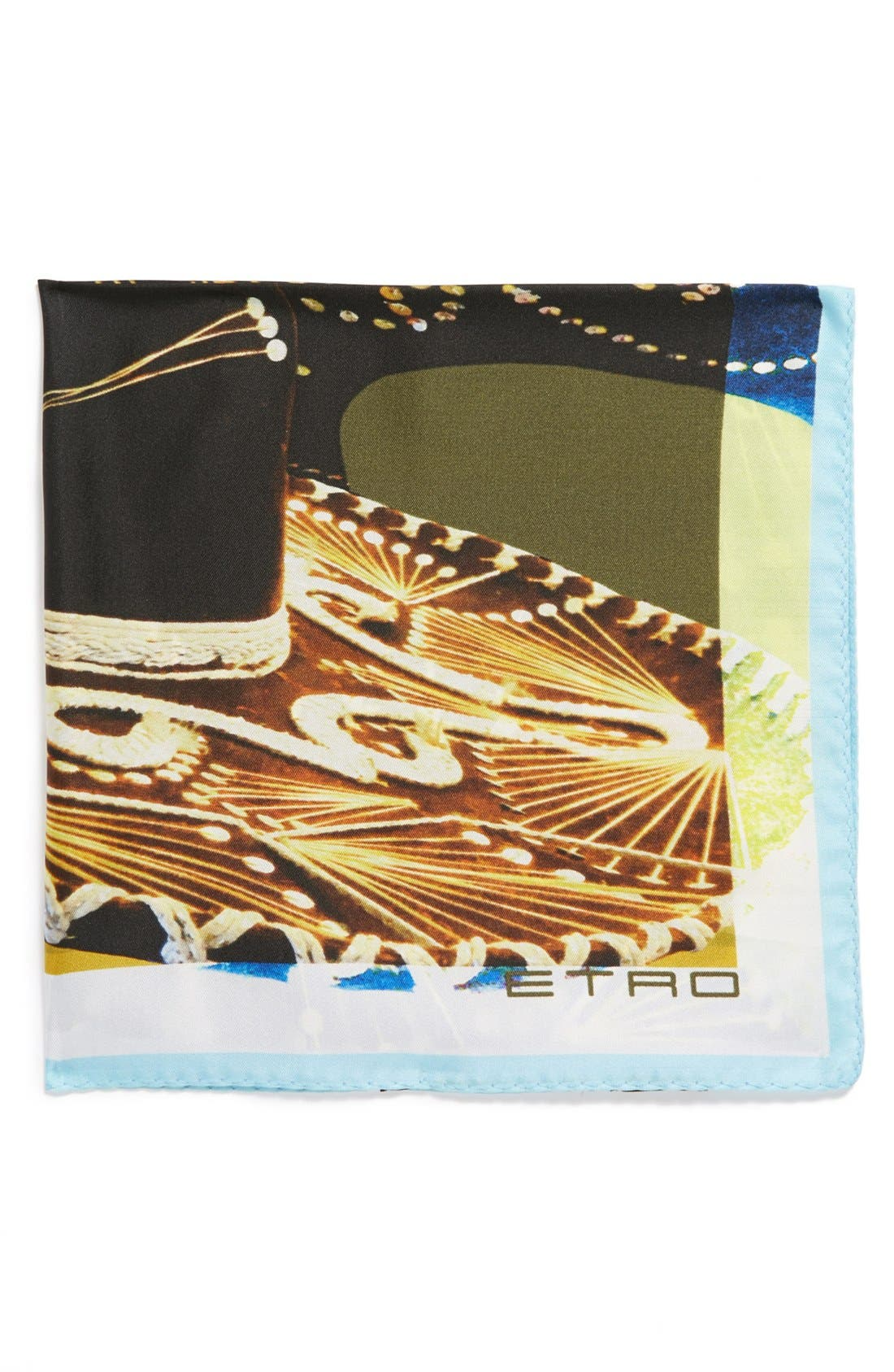 Main Image - Etro Sombrero Print Silk Pocket Square