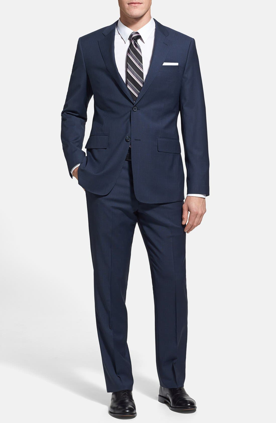 Main Image - John W. Nordstrom® Classic Fit Windowpane Wrinkle Free Travel Suit