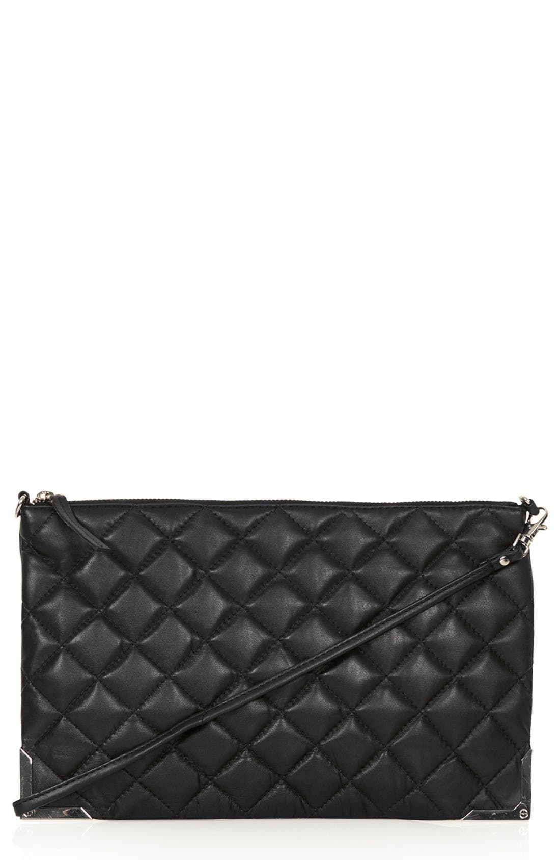 Main Image - Topshop Metal Corner Quilted Leather Clutch