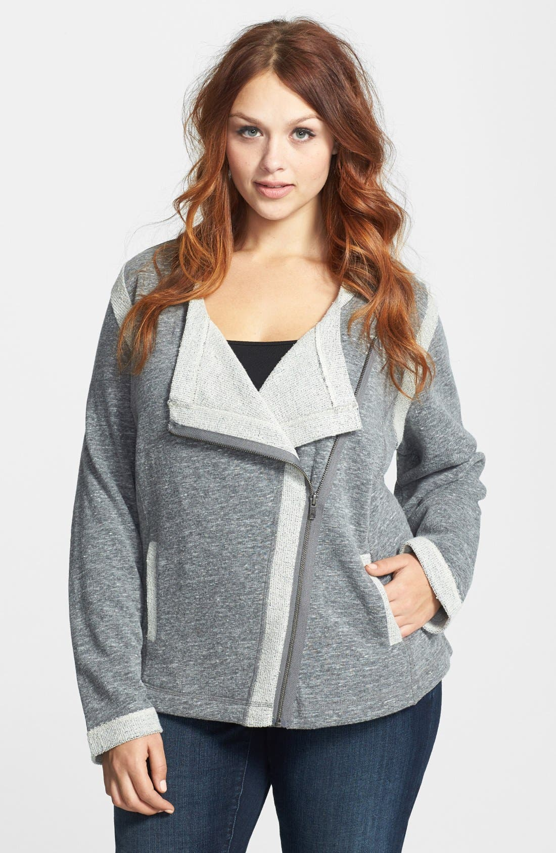 Main Image - Sejour Triblend Moto Jacket (Plus Size)