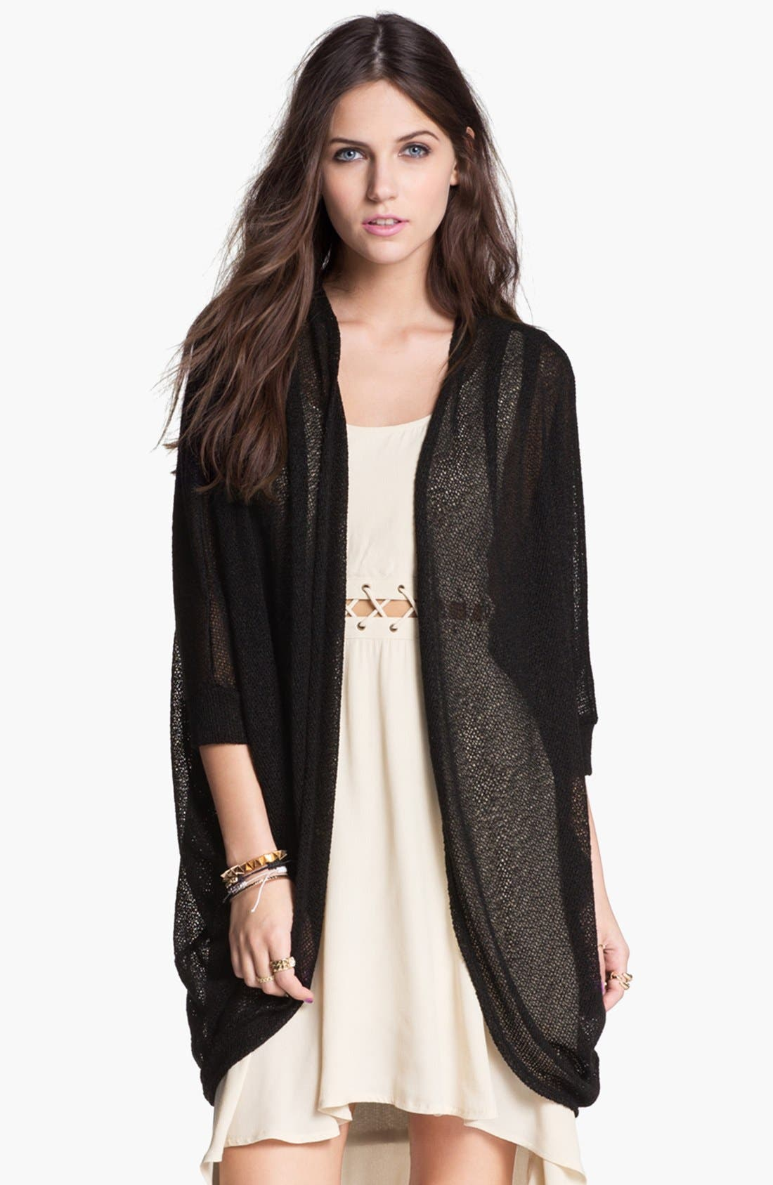 Alternate Image 1 Selected - Painted Threads Oversized Sheer Knit Cardigan (Juniors)