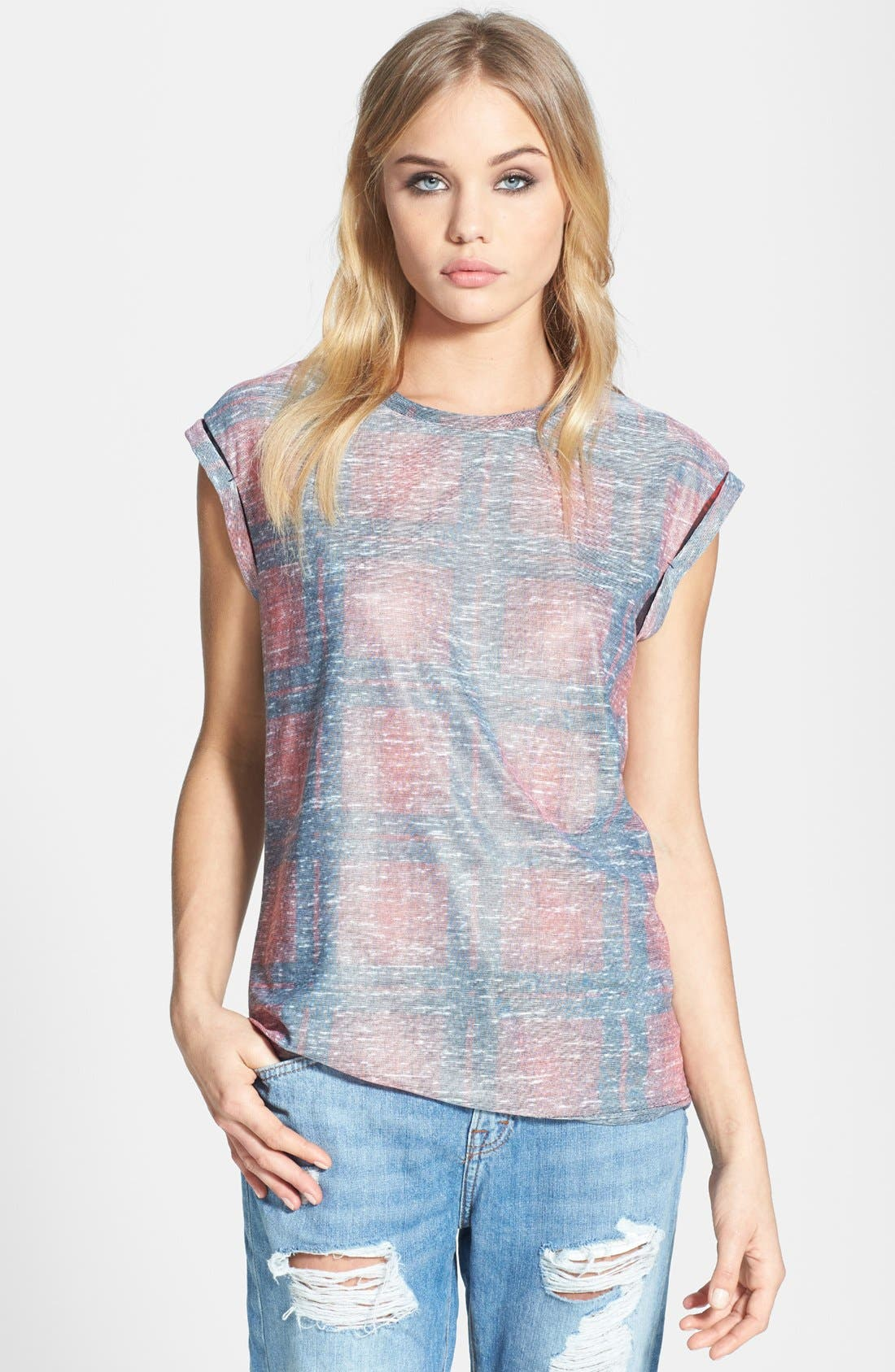 Alternate Image 1 Selected - Topshop Checkered Oversized Tee