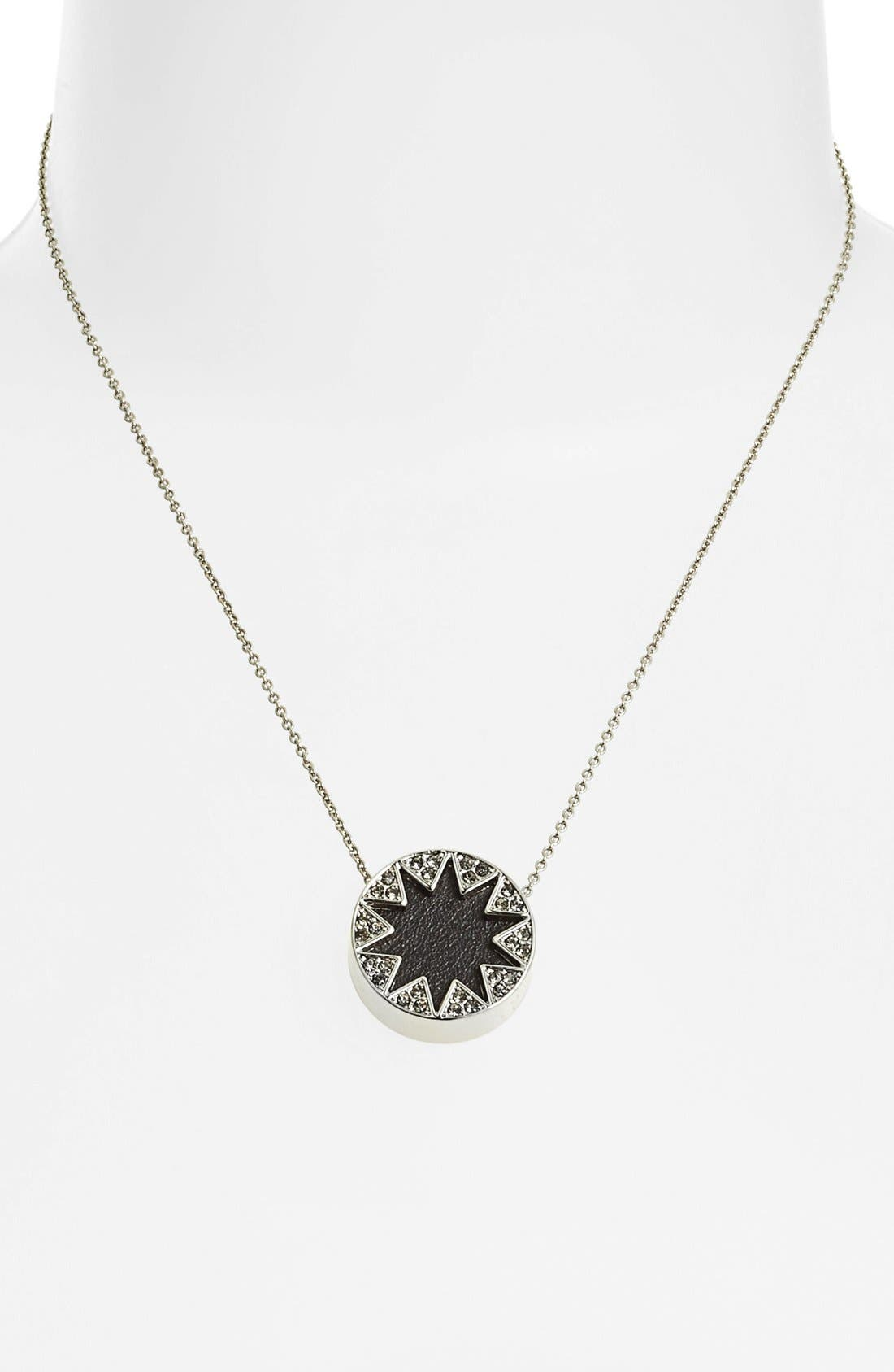 Alternate Image 2  - House of Harlow 1960 Pavé Leather Sunburst Pendant Necklace