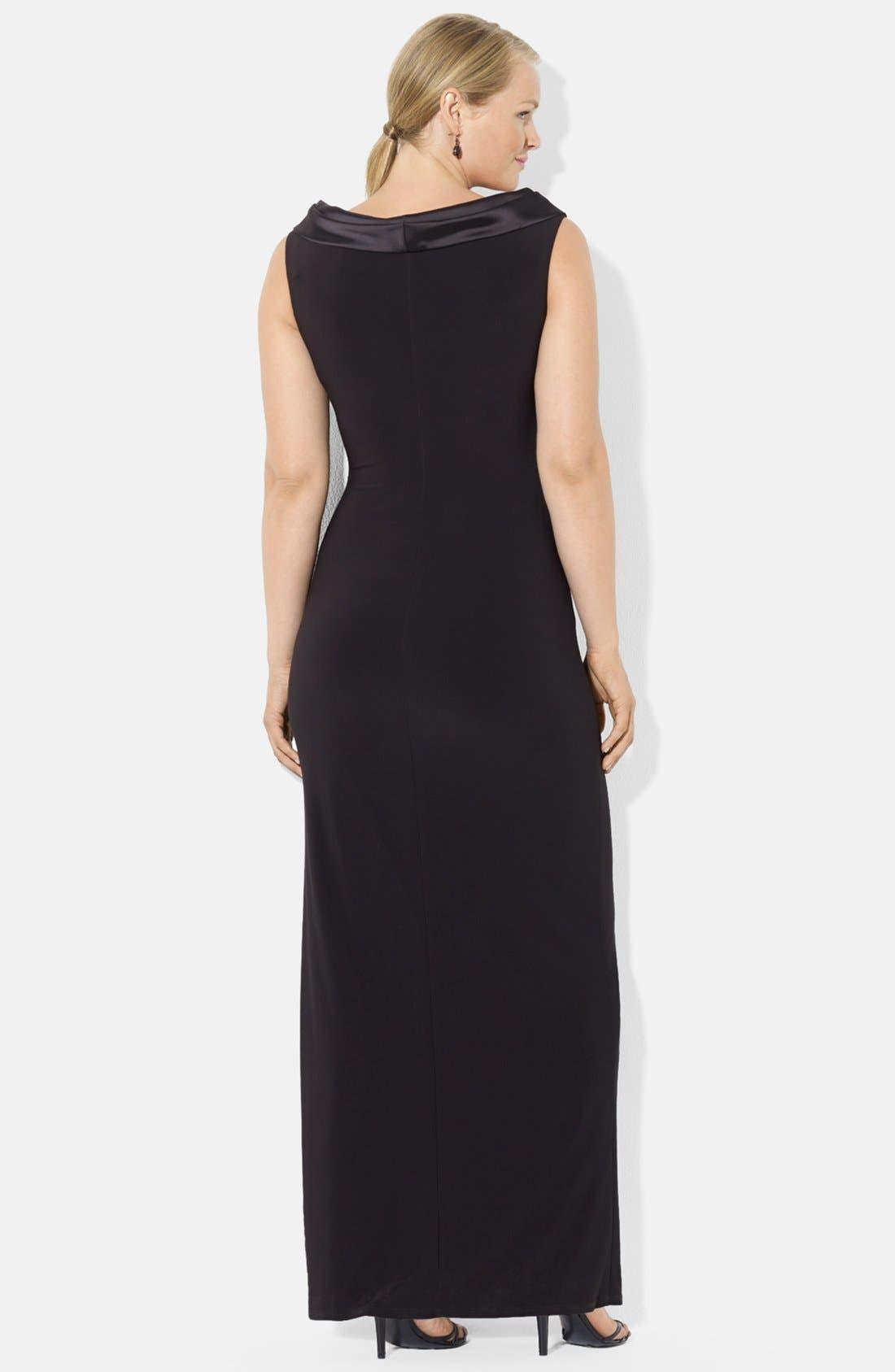 Alternate Image 2  - Lauren Ralph Lauren Portrait Collar Jersey Gown (Plus Size)