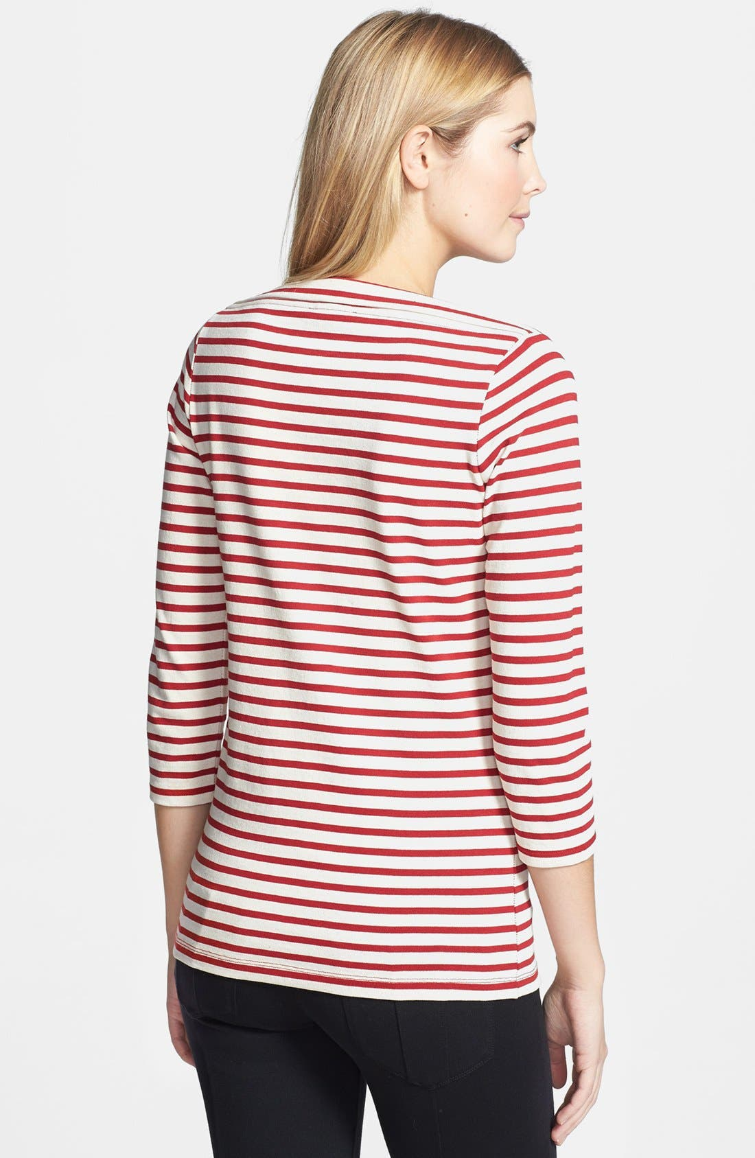 Alternate Image 2  - Burberry Brit Stripe Cotton Boatneck Tee