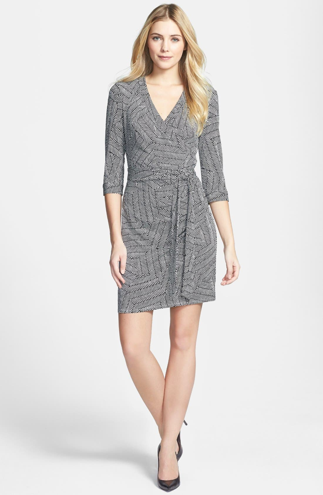 Main Image - Laundry by Shelli Segal Print Jersey Faux Wrap Dress