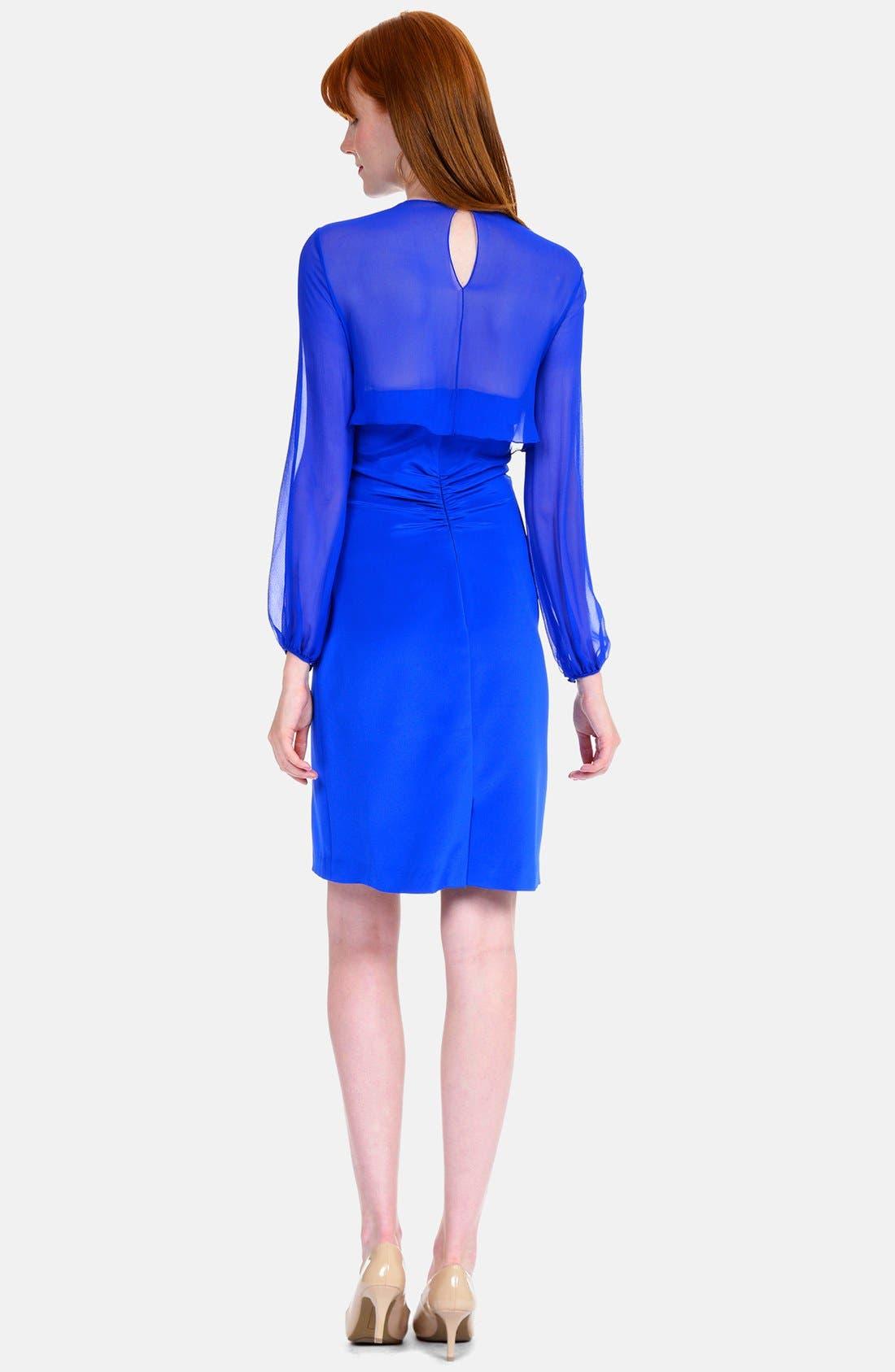 Alternate Image 2  - Kay Unger Illusion Sleeve Stretch Silk Dress