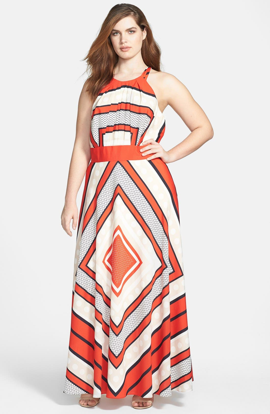 Alternate Image 1 Selected - Eliza J Scarf Print Woven Maxi Dress (Plus Size)