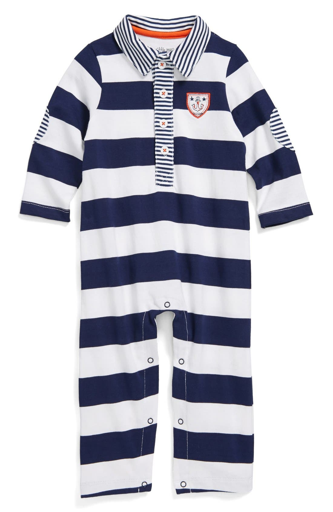 Alternate Image 1 Selected - Little Me 'Sailors' Stripe Romper (Baby Boys)