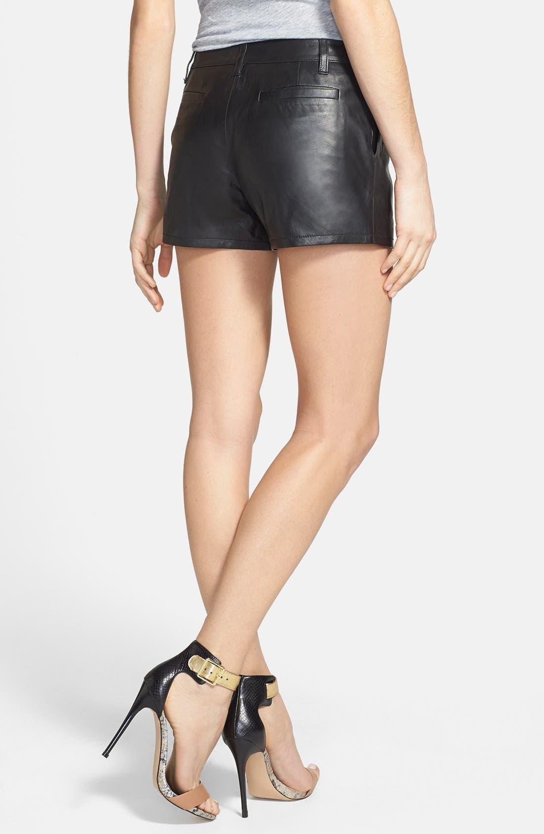 Alternate Image 2  - Halogen® Leather Shorts (Regular & Petite) (Online Only)