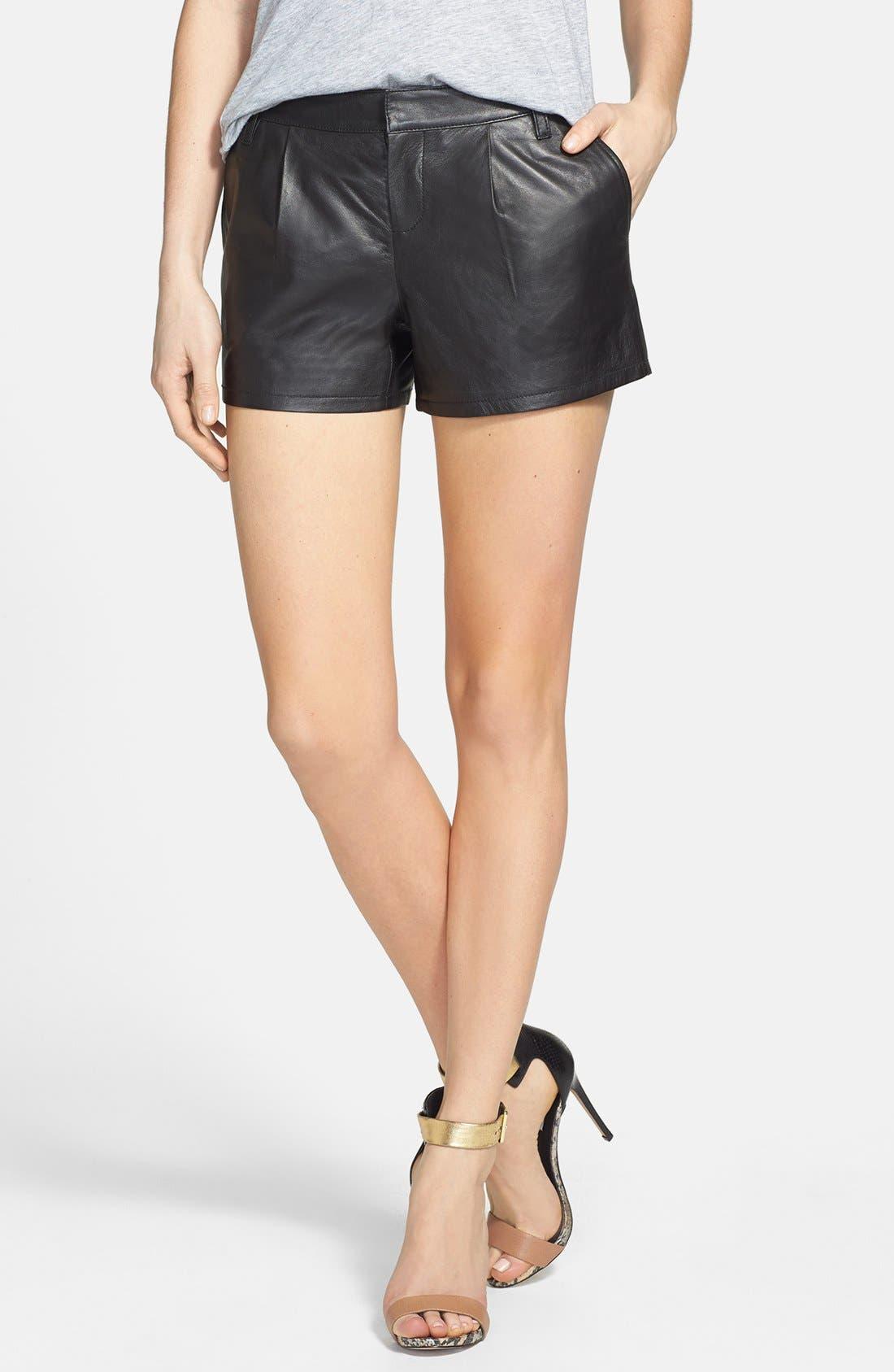 Alternate Image 1 Selected - Halogen® Leather Shorts (Regular & Petite) (Online Only)