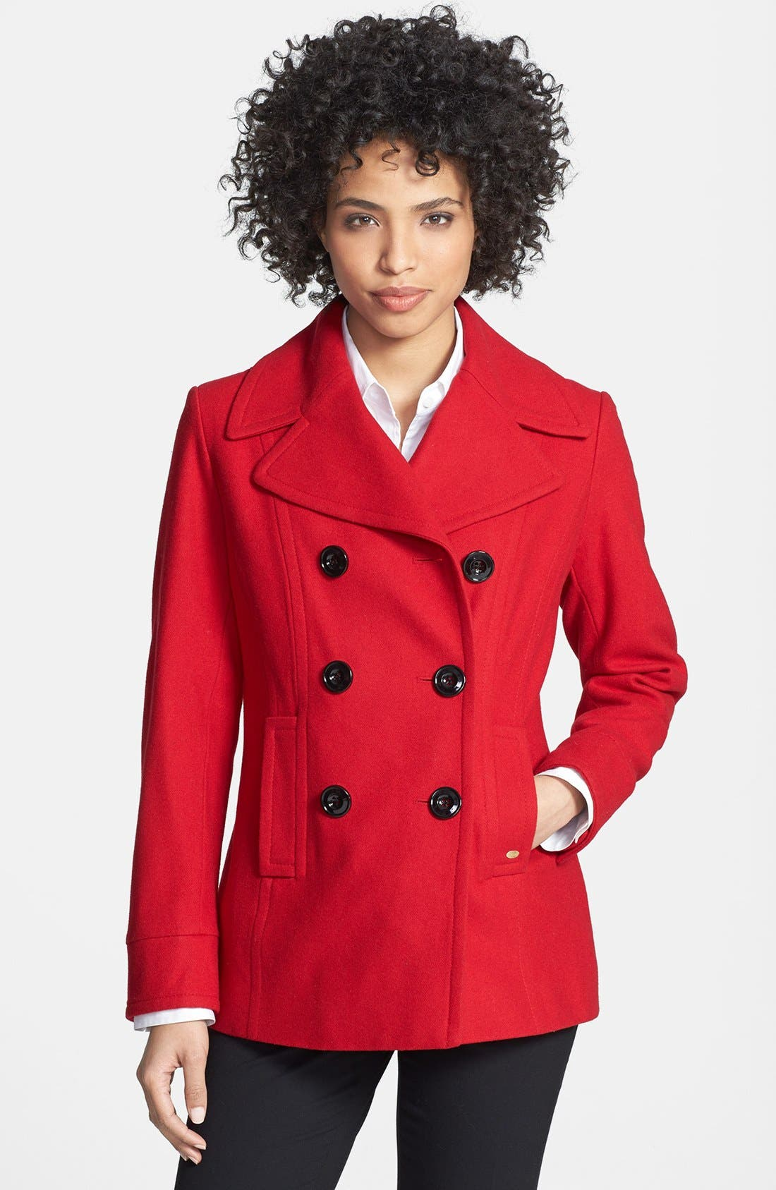 Main Image - Ellen Tracy Double Breasted Peacoat