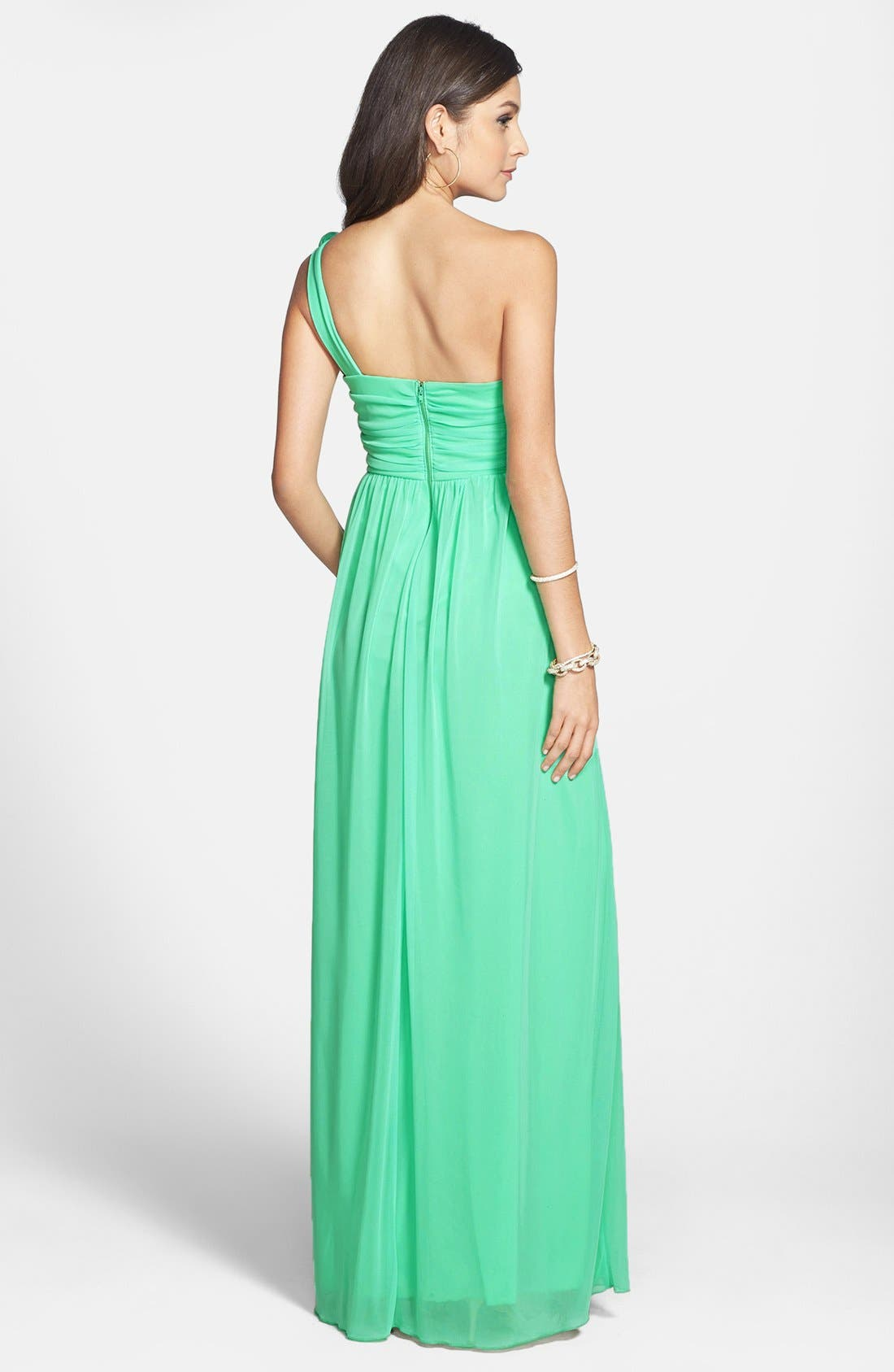 Alternate Image 2  - Way-In Rosette Strap One-Shoulder Gown (Juniors) (Online Only)