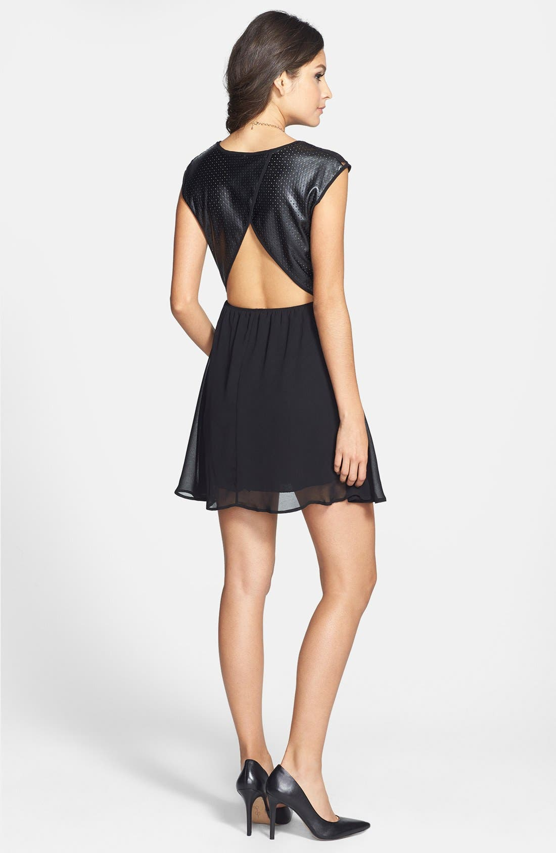 Main Image - dee elle Cutout Mixed Media Skater Dress (Juniors)