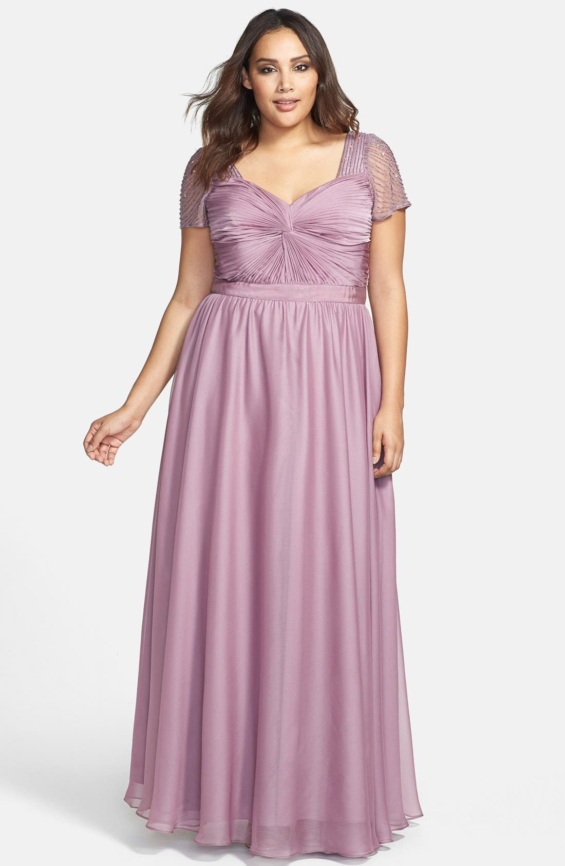 Alternate Image 1 Selected - Adrianna Papell Beaded Flutter Sleeve Gown (Plus Size)
