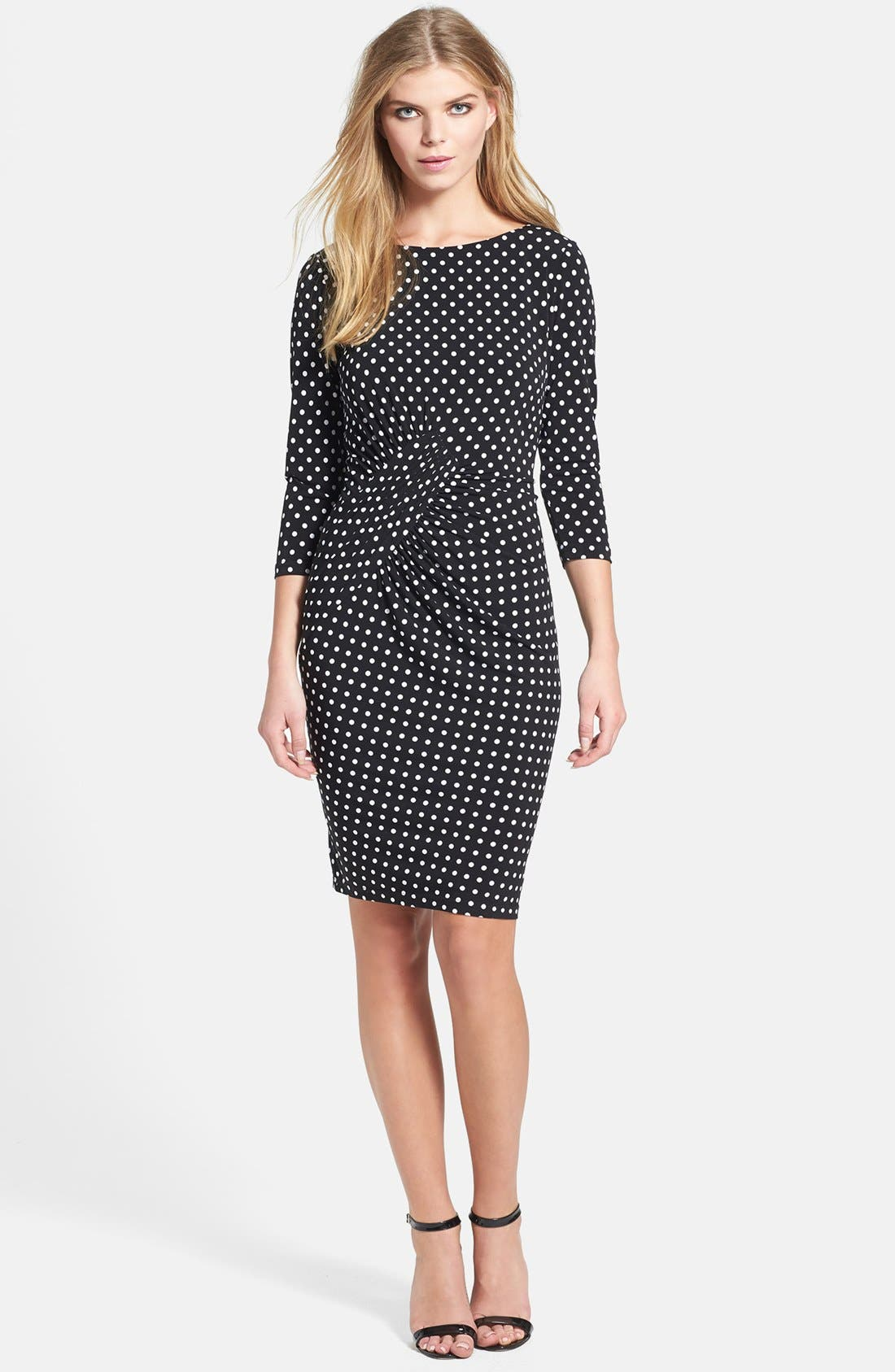 Alternate Image 2  - Adrianna Papell Polka Dot Ruched Jersey Dress