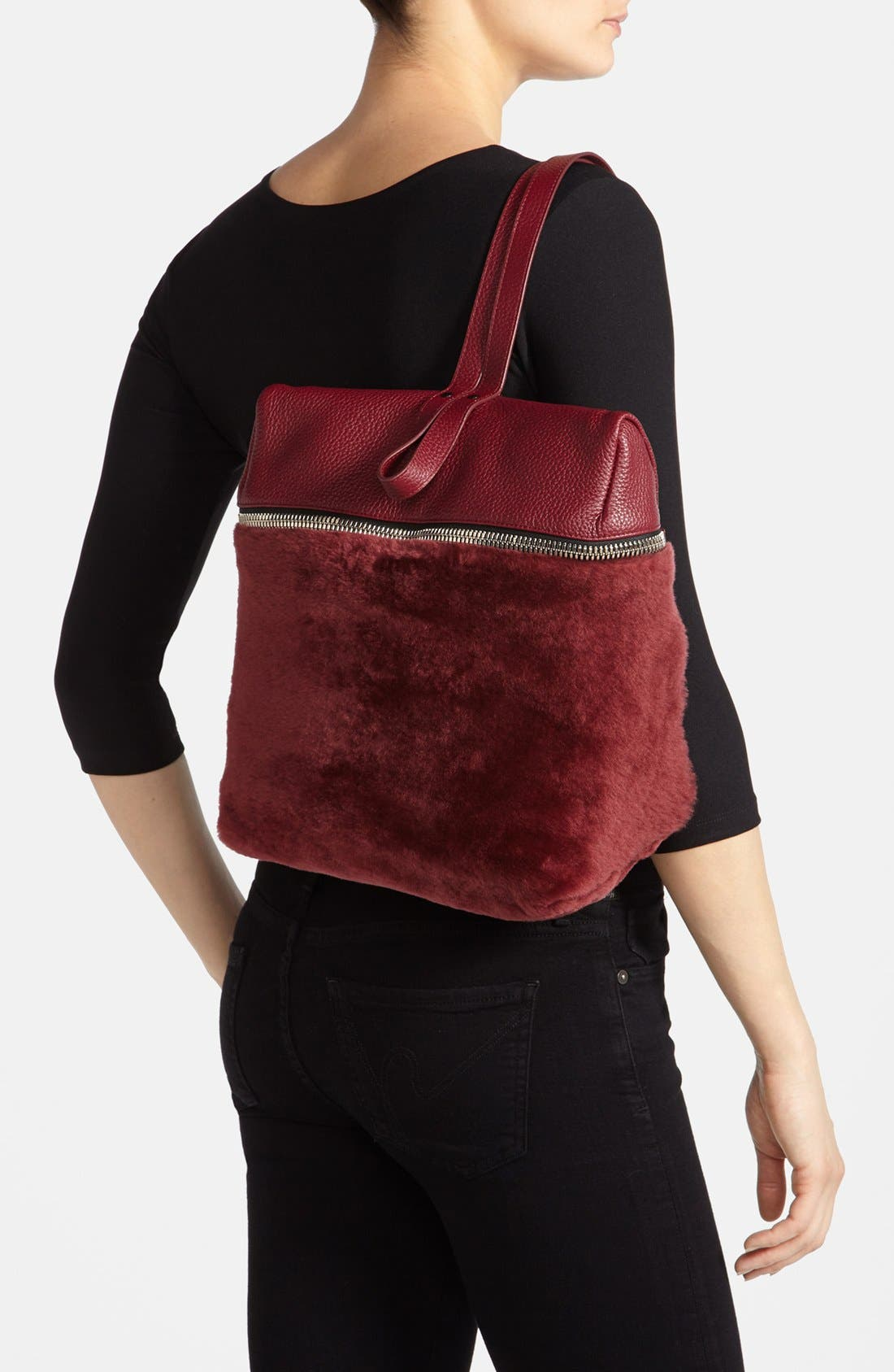 Alternate Image 5  - Kara Genuine Shearling Backpack, Medium