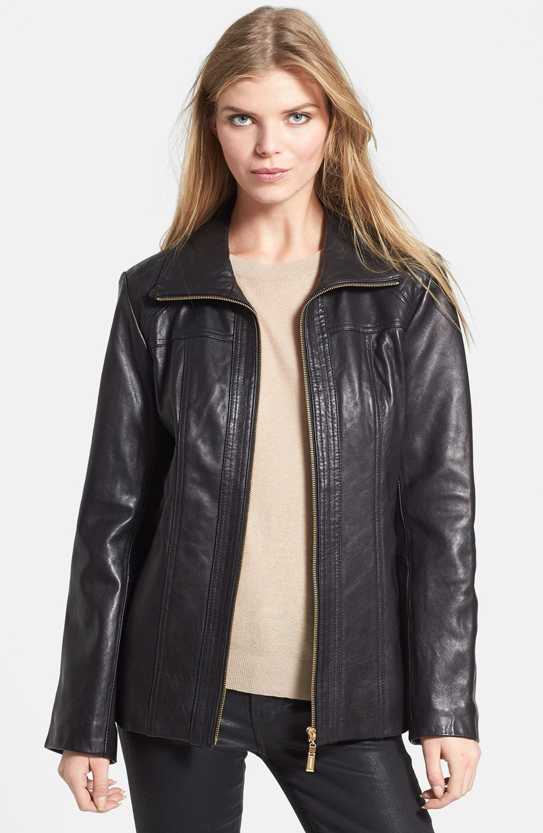 Main Image - Ellen Tracy Quilt Trim Leather Jacket