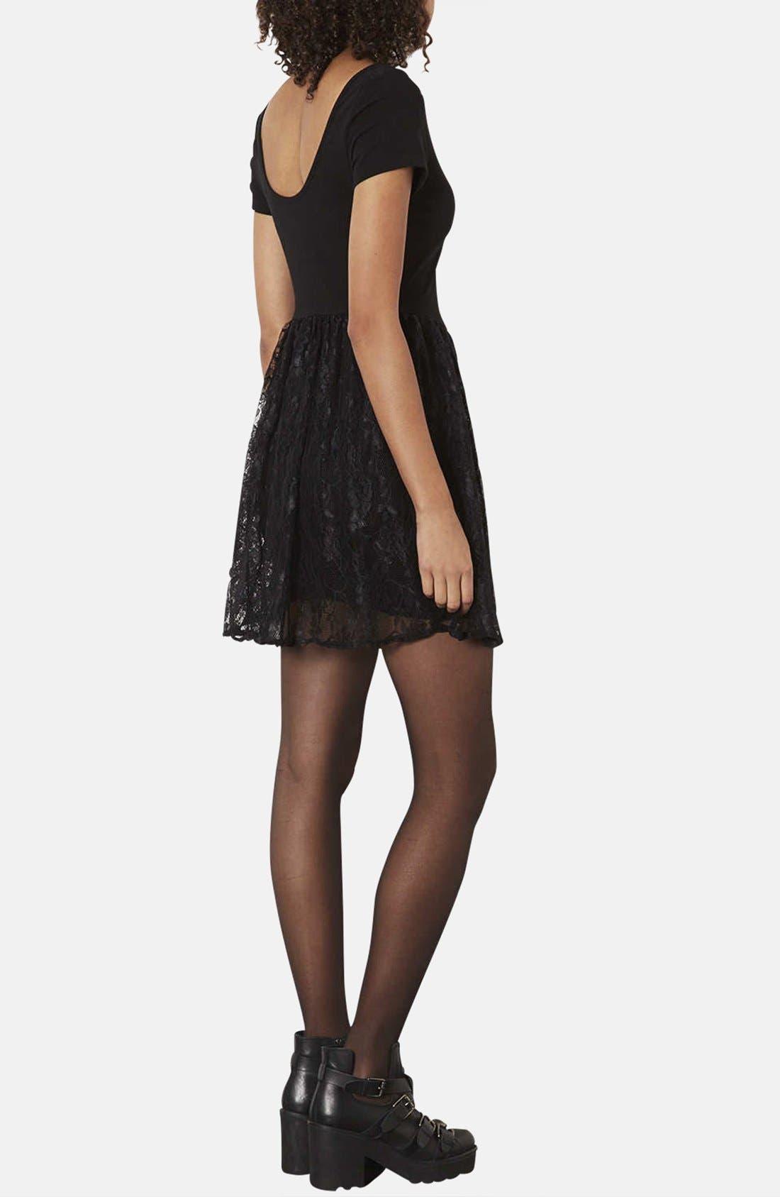 Alternate Image 2  - Topshop Lace & Jersey Skater Dress