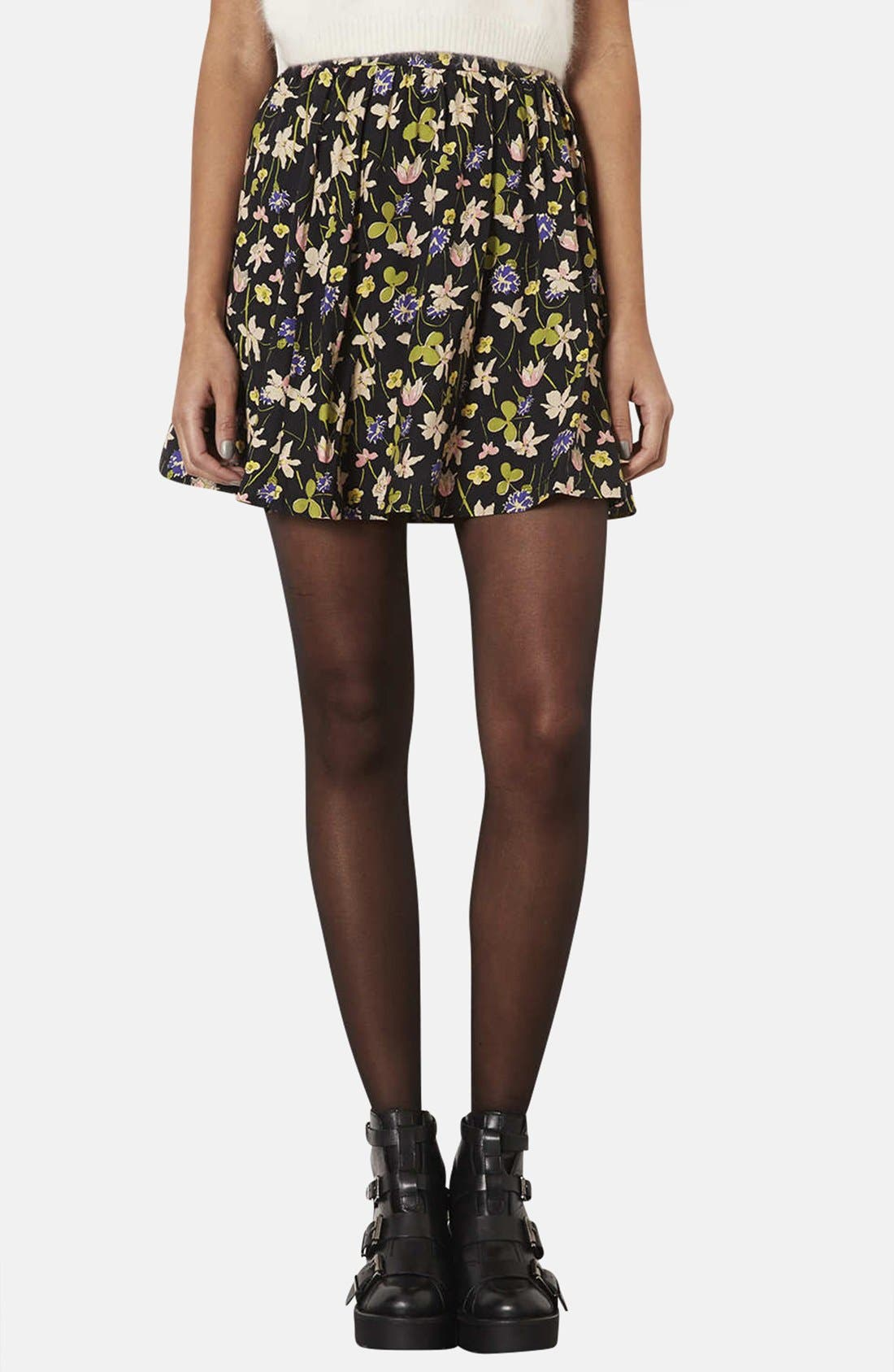 Alternate Image 1 Selected - Topshop 'Milly' Wildflower Print Skirt