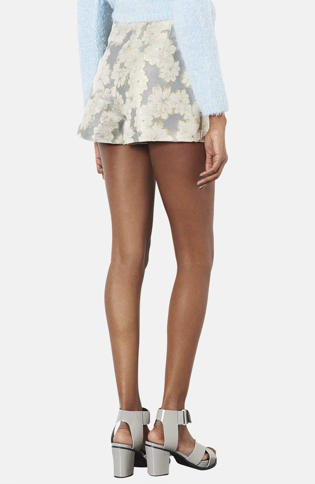 Alternate Image 2  - Topshop Metallic Floral Jacquard High Rise Shorts