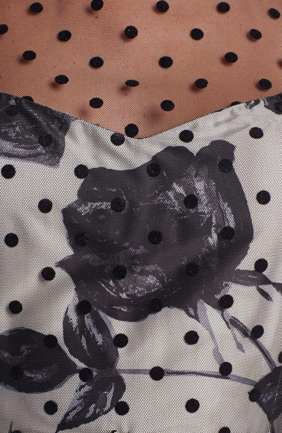 Alternate Image 3  - Eliza J Flocked Dot Illusion Dress (Petite)