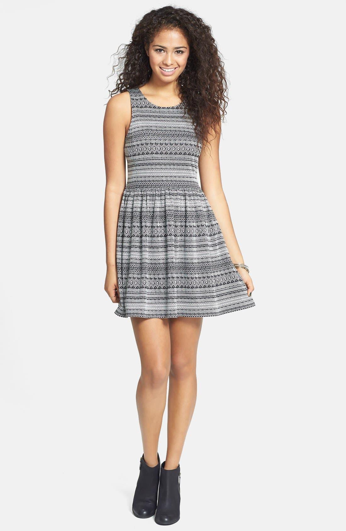 Alternate Image 1 Selected - Rubbish® Geometric Jacquard Skater Dress (Juniors)