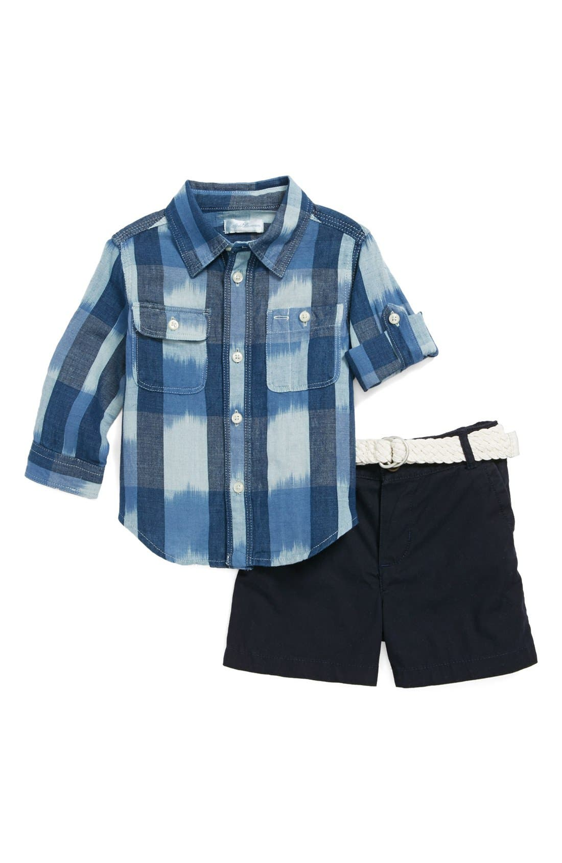 Alternate Image 1 Selected - Ralph Lauren Shirt, Belt & Woven Shorts (Baby Boys)